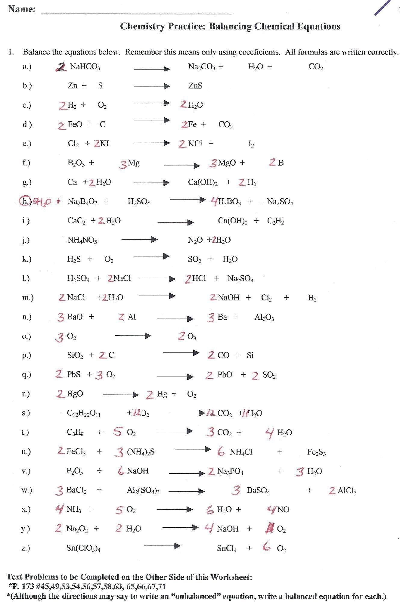 Balancing Equations Race Worksheet Answers