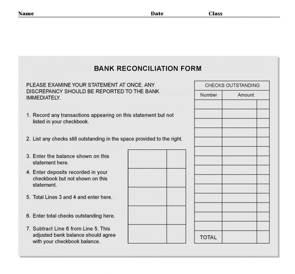 Bank Reconciliation Worksheet