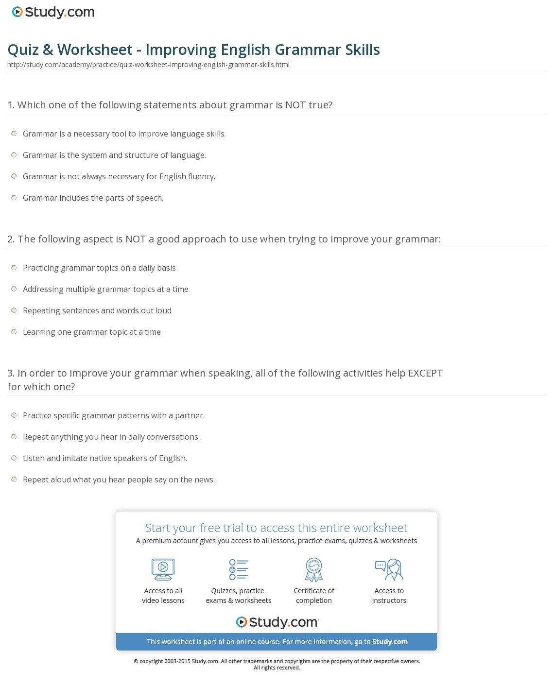 Basic Skills English Worksheets