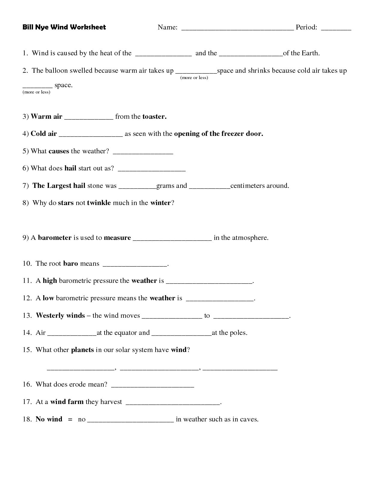 Bill Nye Plants Worksheet Answers