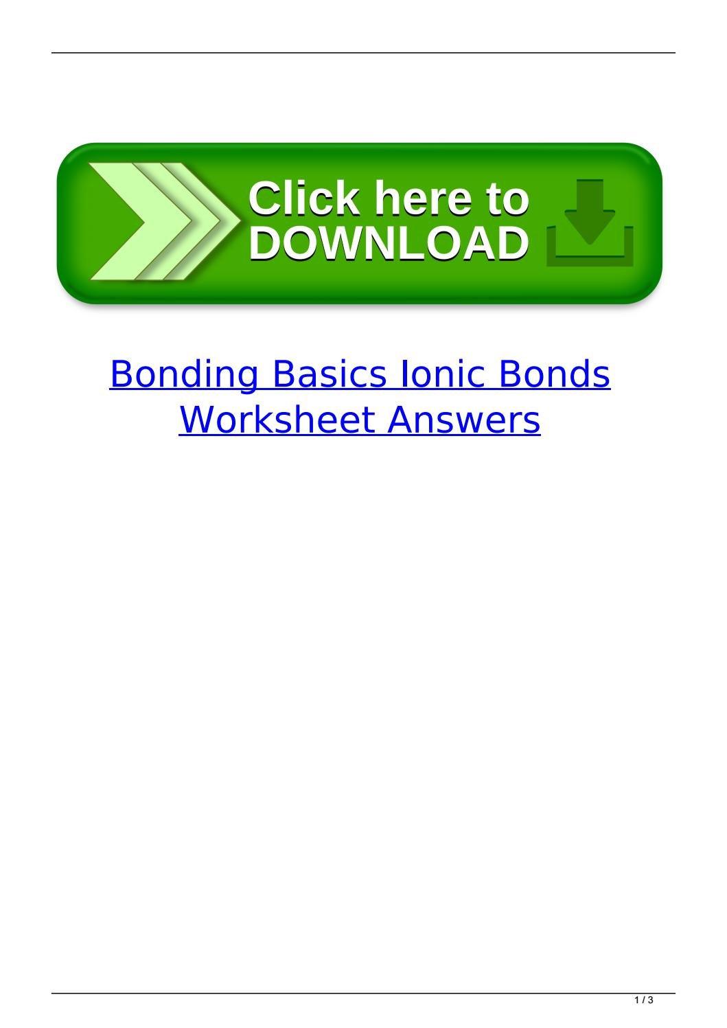 Bonding Basics Ionic Bonds Worksheet Answers