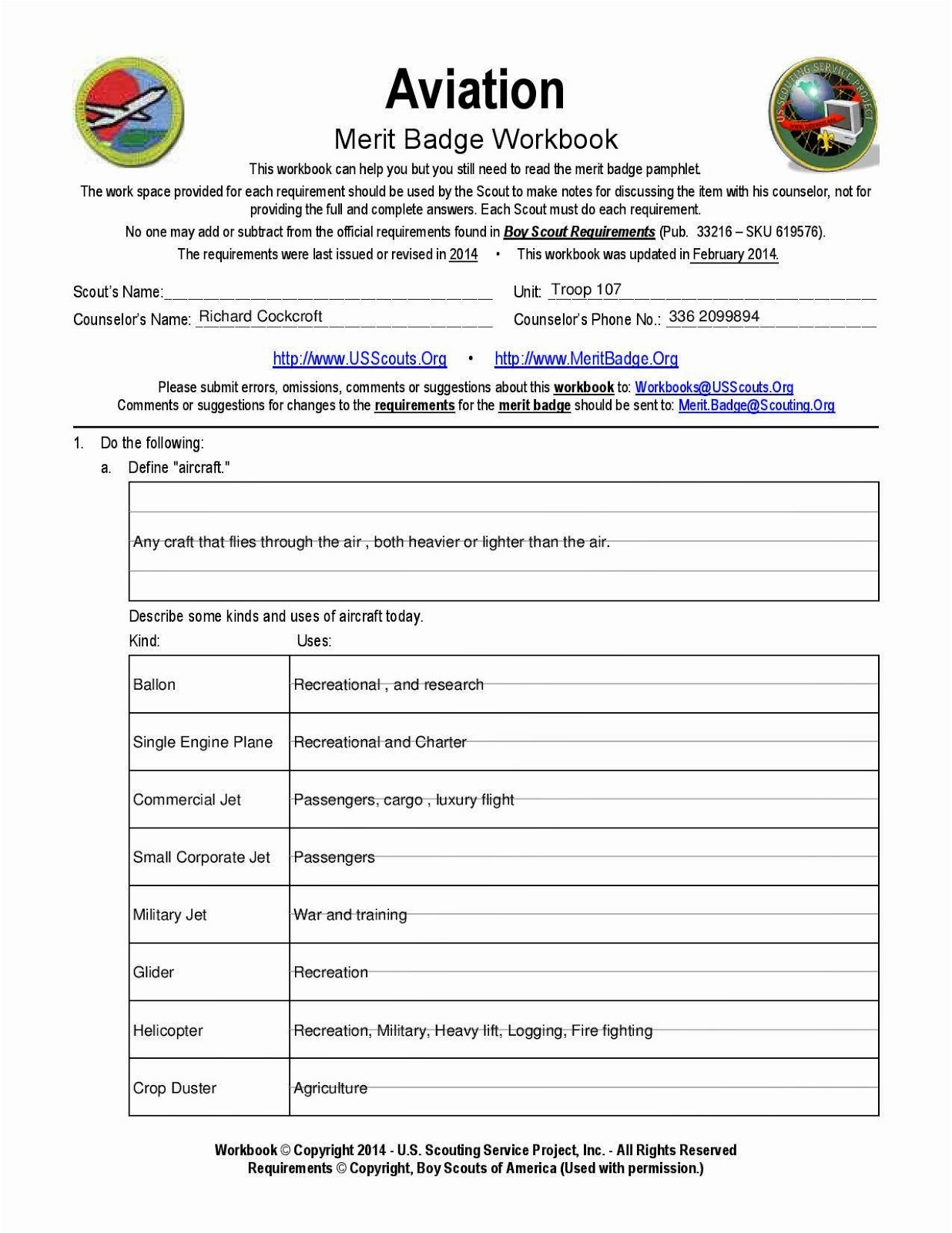 Boy Scout Cooking Merit Badge Worksheet