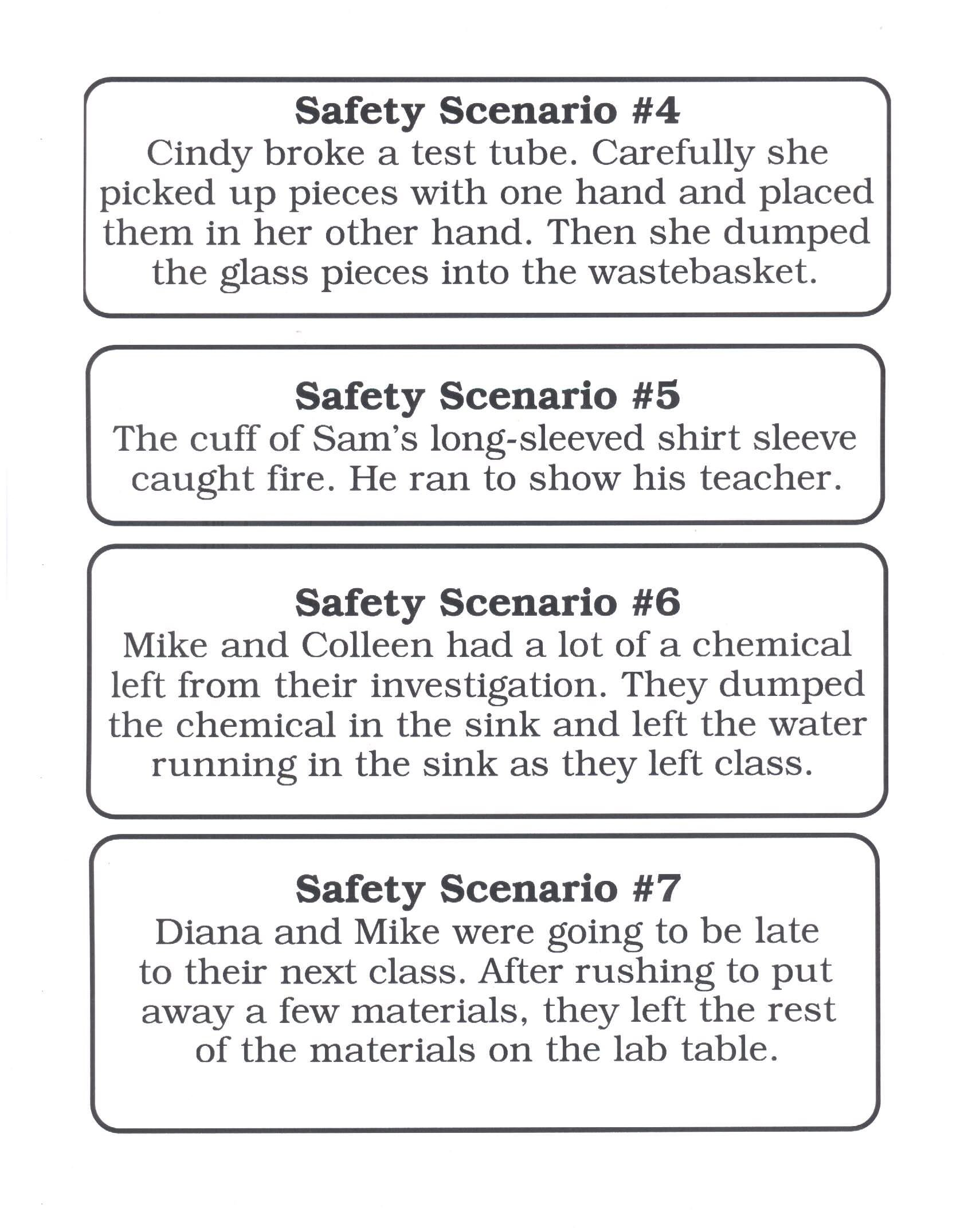 Lab Safety Scenarios Worksheet Answers