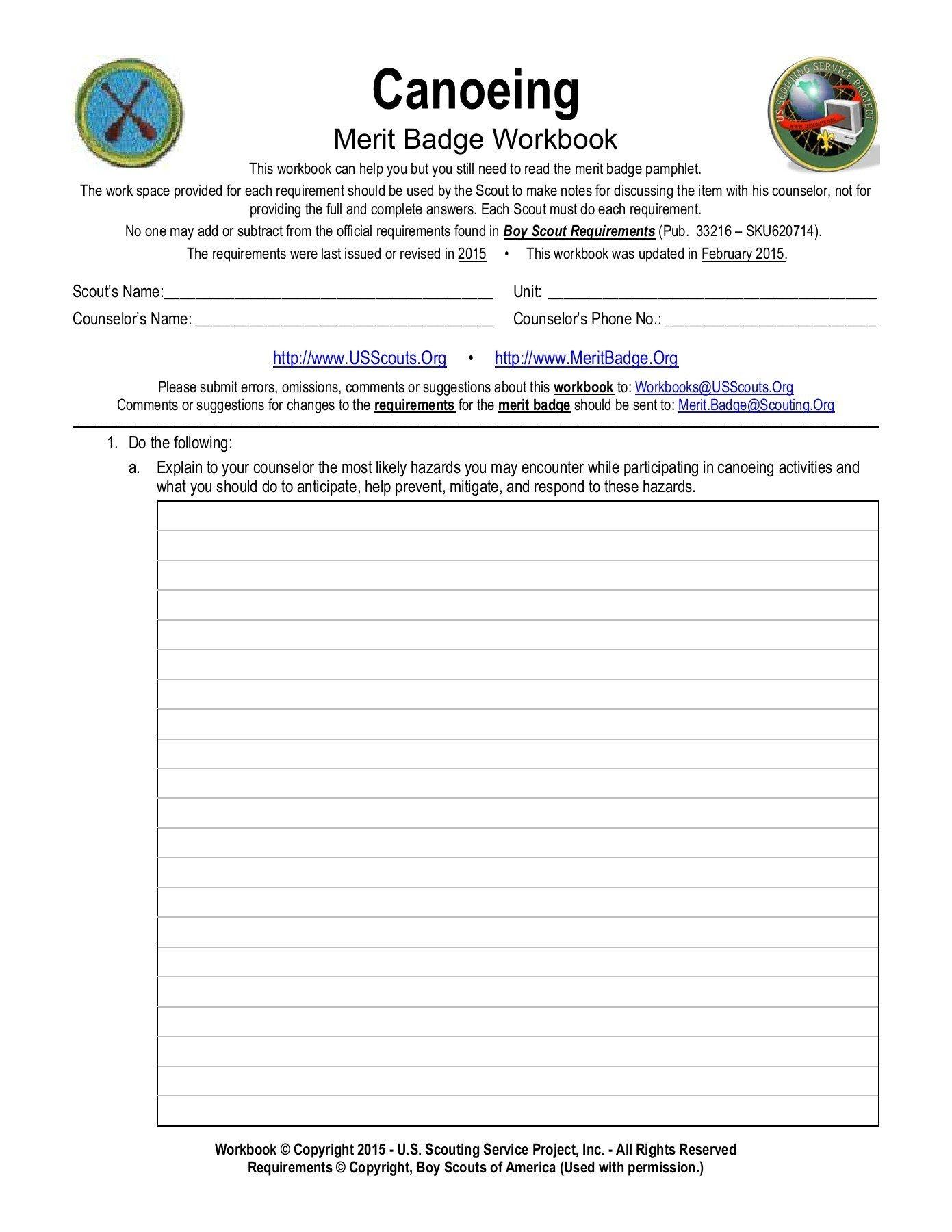 Boy Scout Merit Badge Worksheets