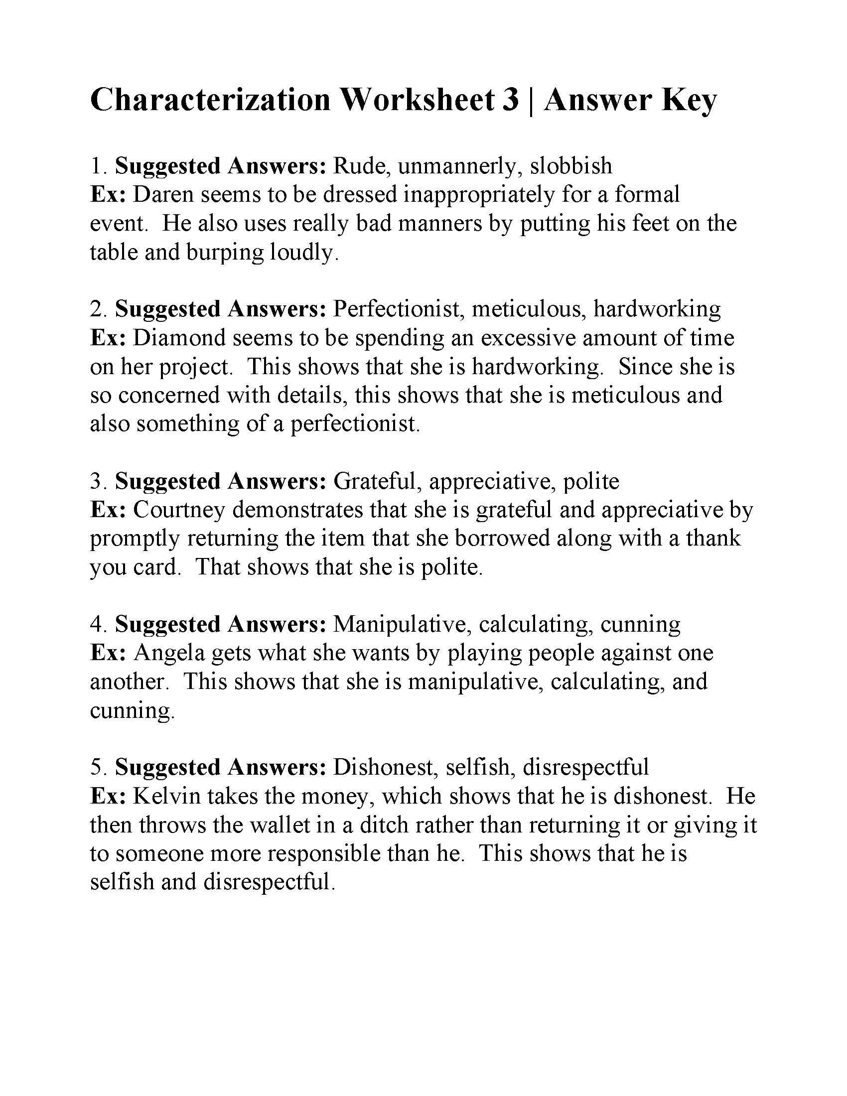 Identifying Character Traits Worksheet