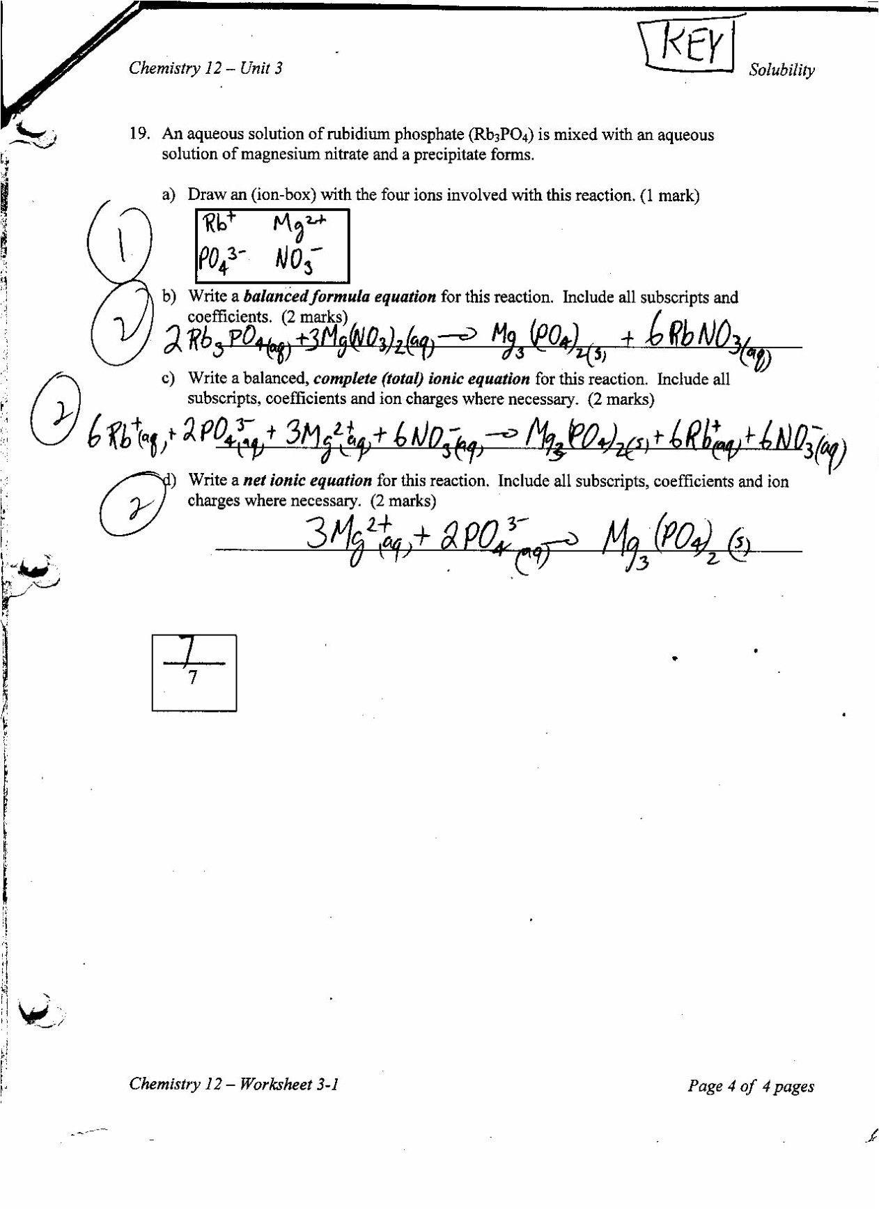 Chemistry Unit 6 Worksheet 1 Answer Key