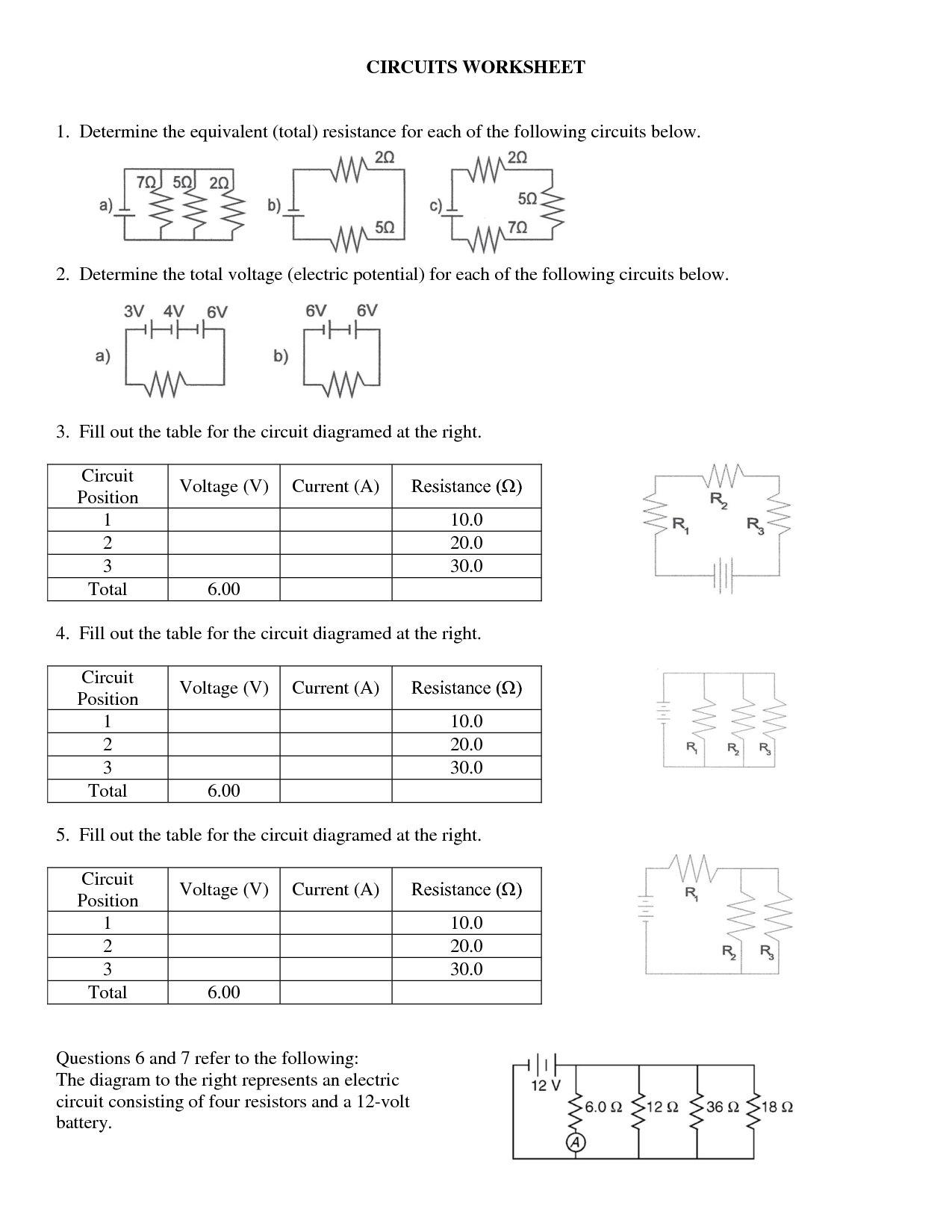 Circuits Worksheet Answer Key