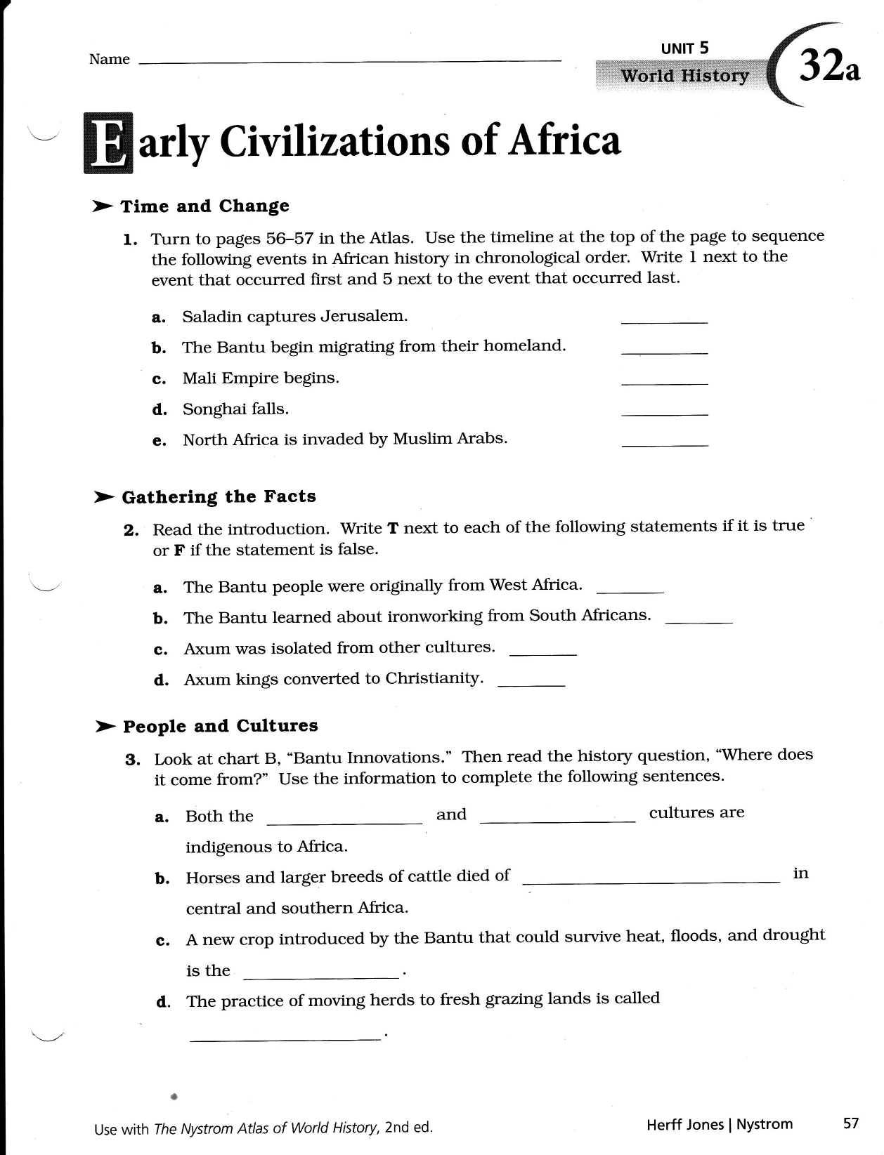 Early African Civilizations Worksheet Answers