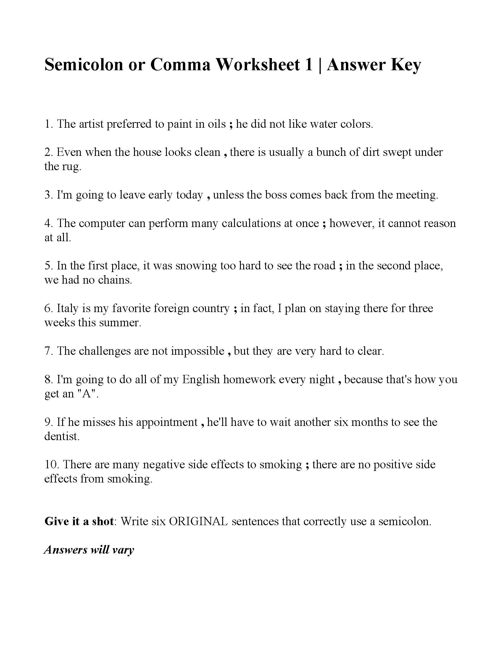 Semicolons And Colons Worksheet Answers