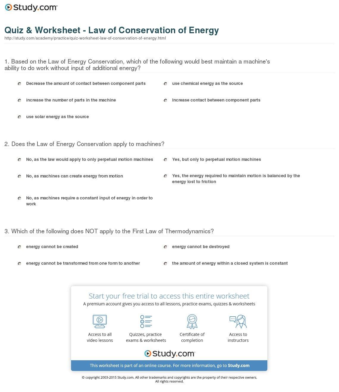 Conservation Of Energy Worksheet Key