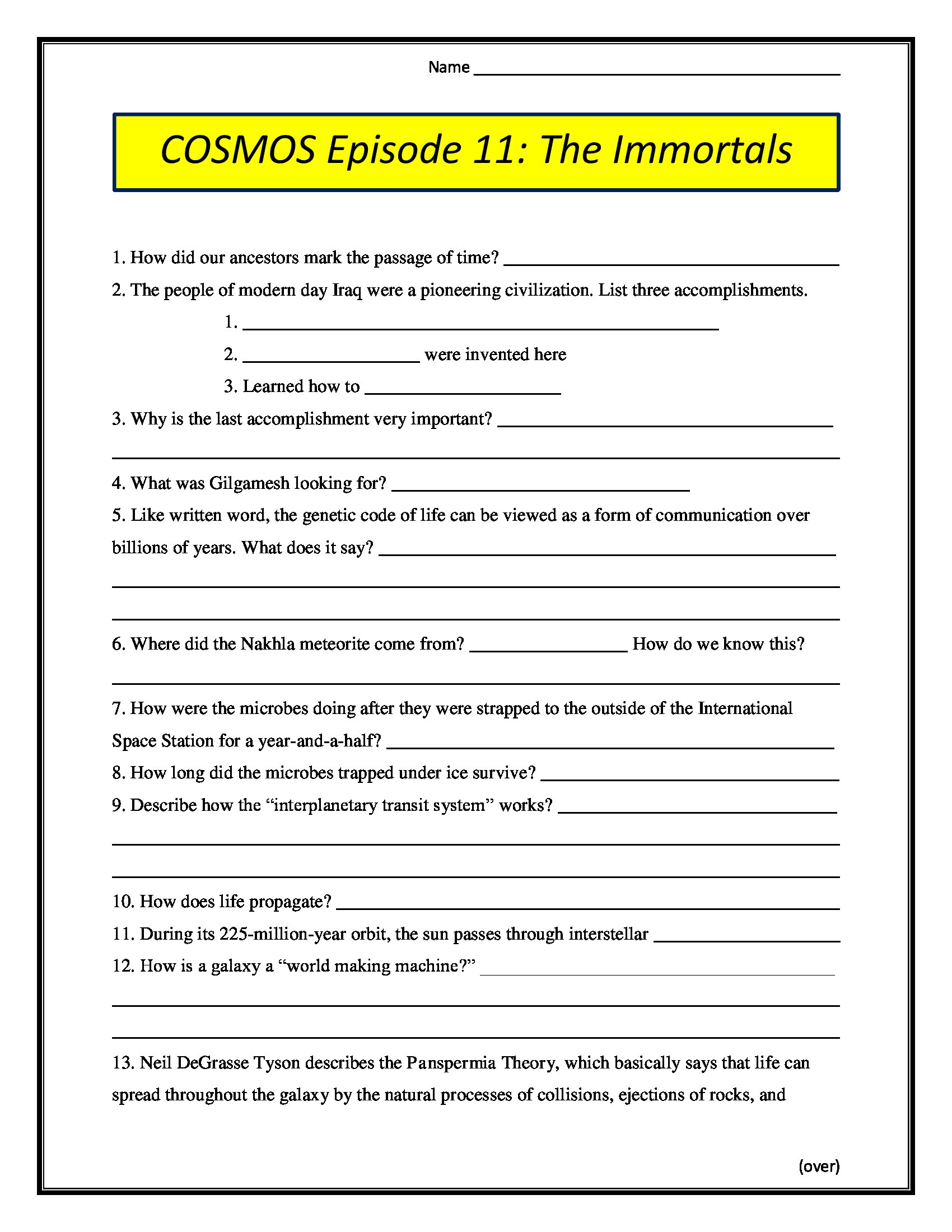 Cosmos Episode 12 Worksheet Answers