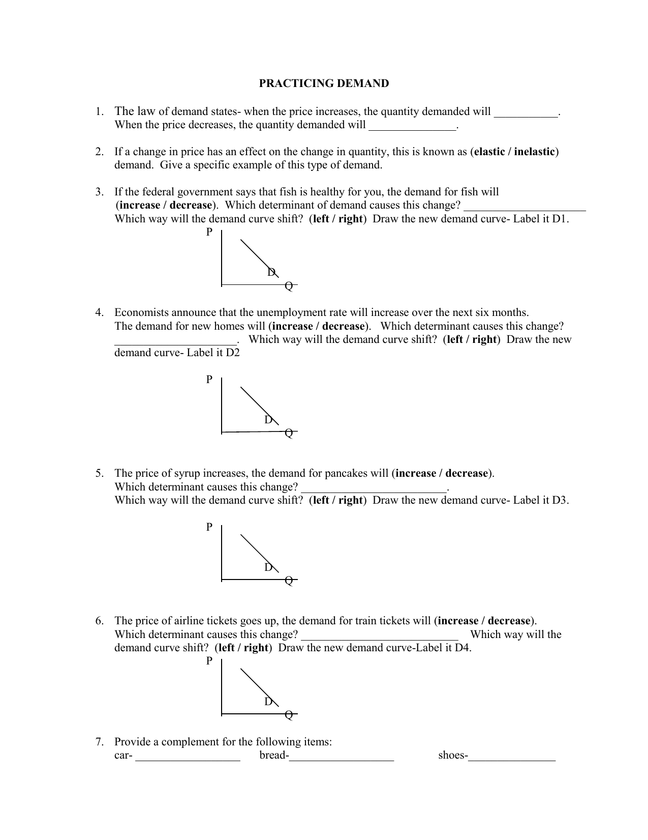 Determinants Of Demand Worksheet Answers