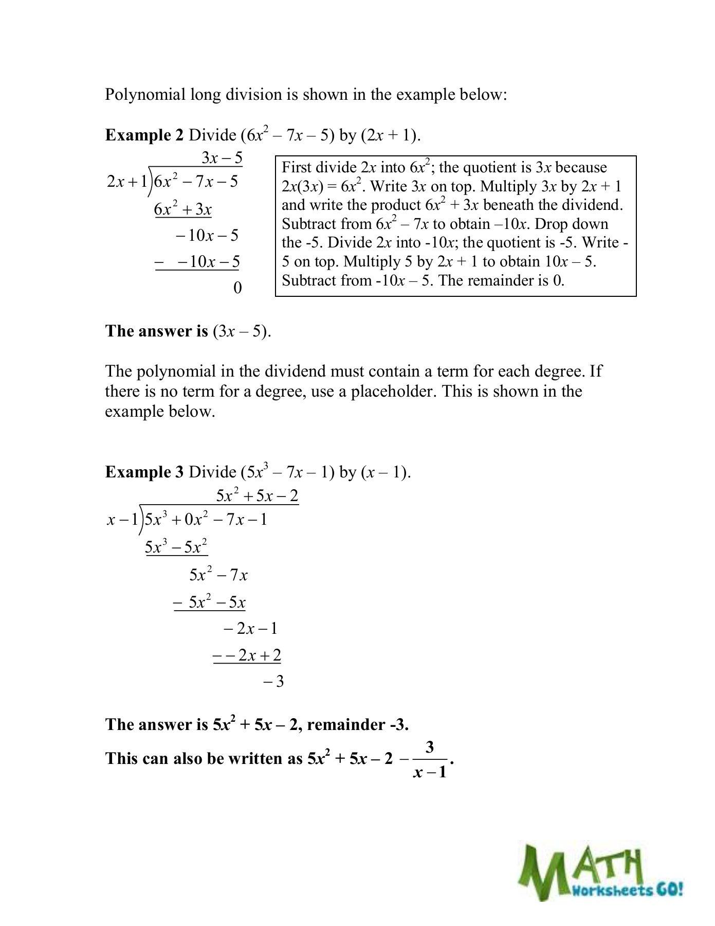 Dividing Polynomials Worksheet