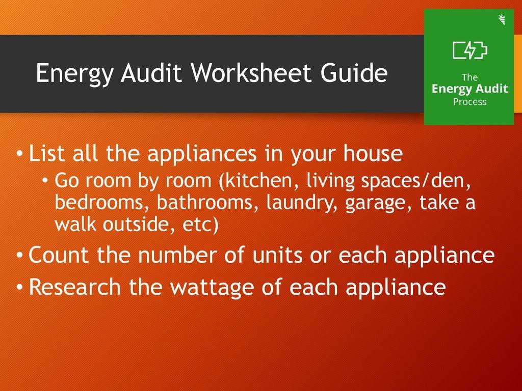 Energy Audit Ppt Download Or Energy Audit Worksheet