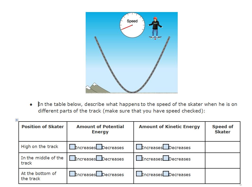 Energy Skate Park Worksheet Answers