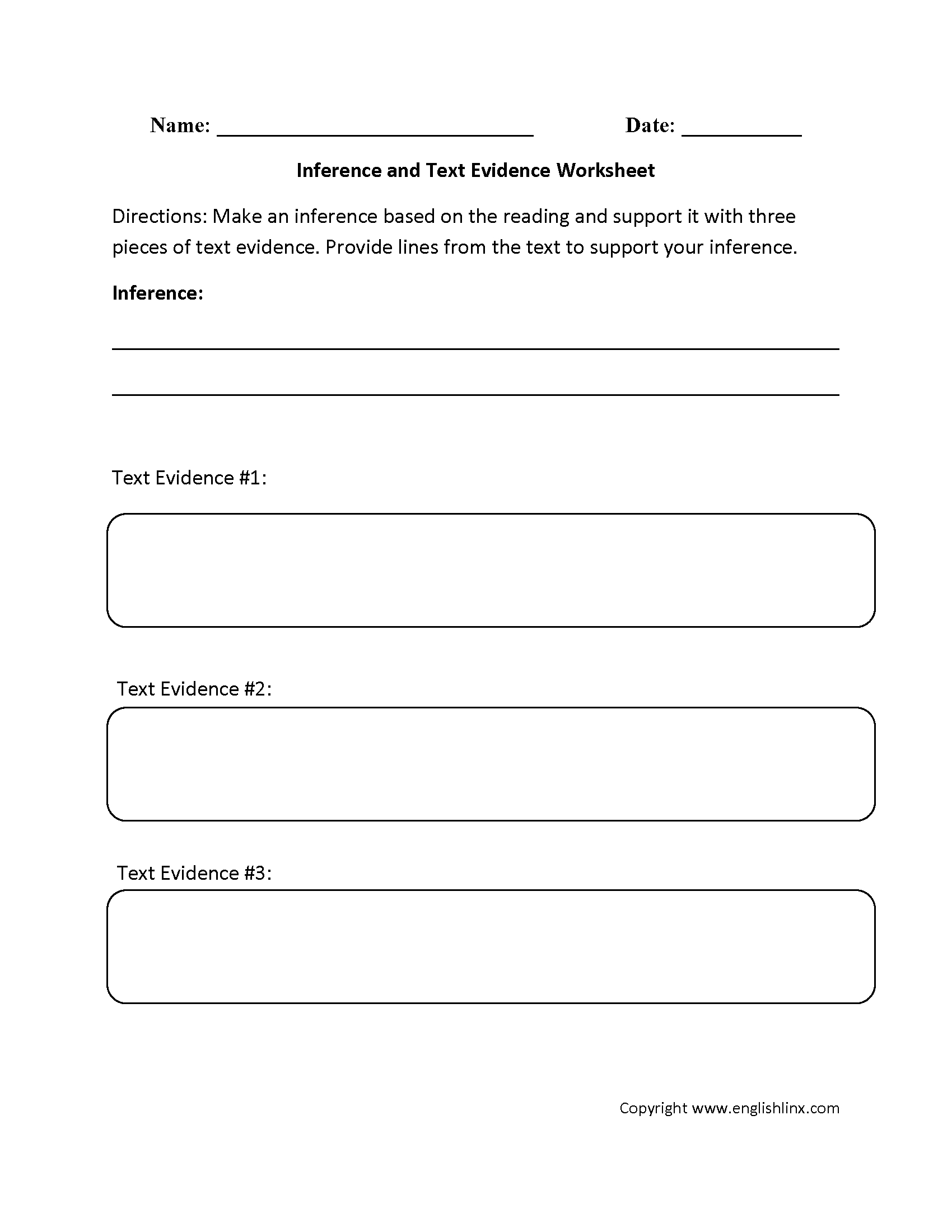 Citing Evidence Worksheet