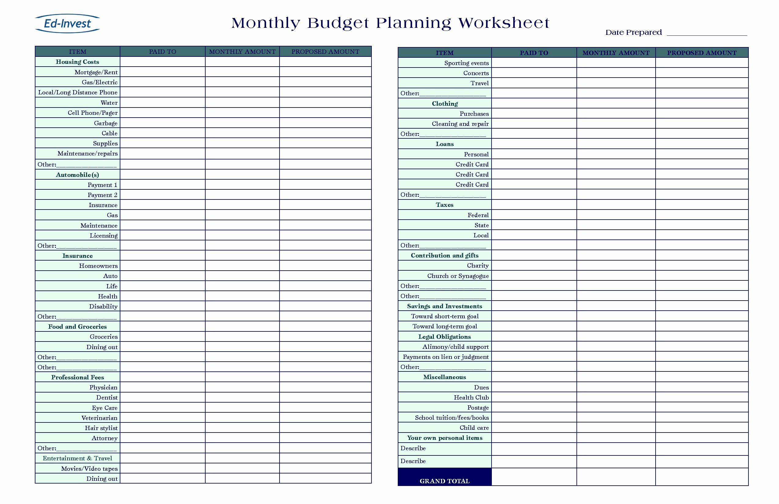Self Employment Income Expense Tracking Worksheet