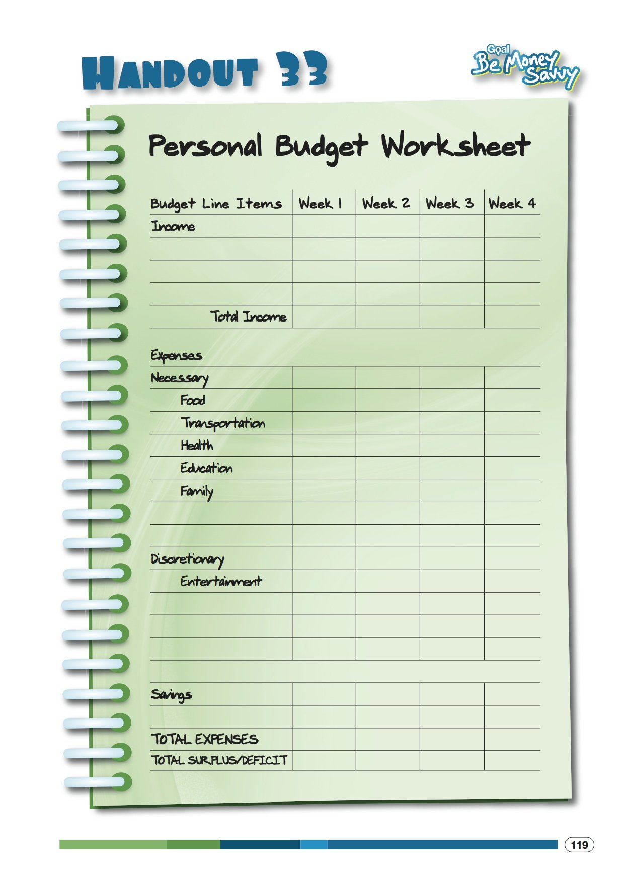 Personal Budget Worksheet