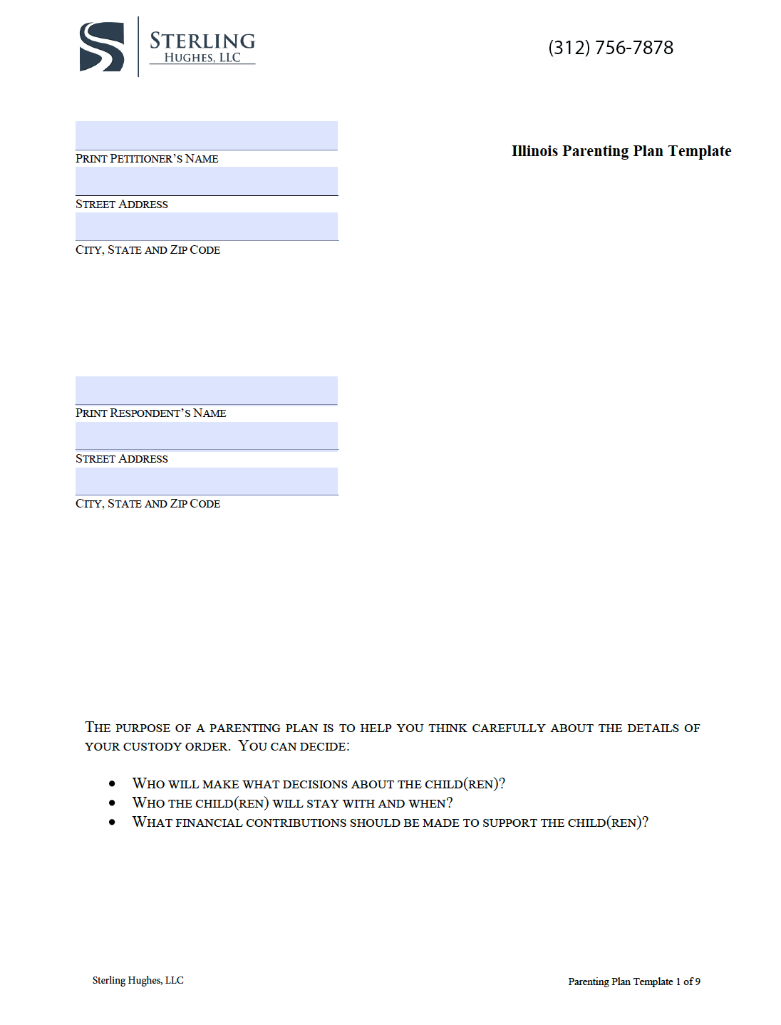 Parenting Plan Worksheet Illinois