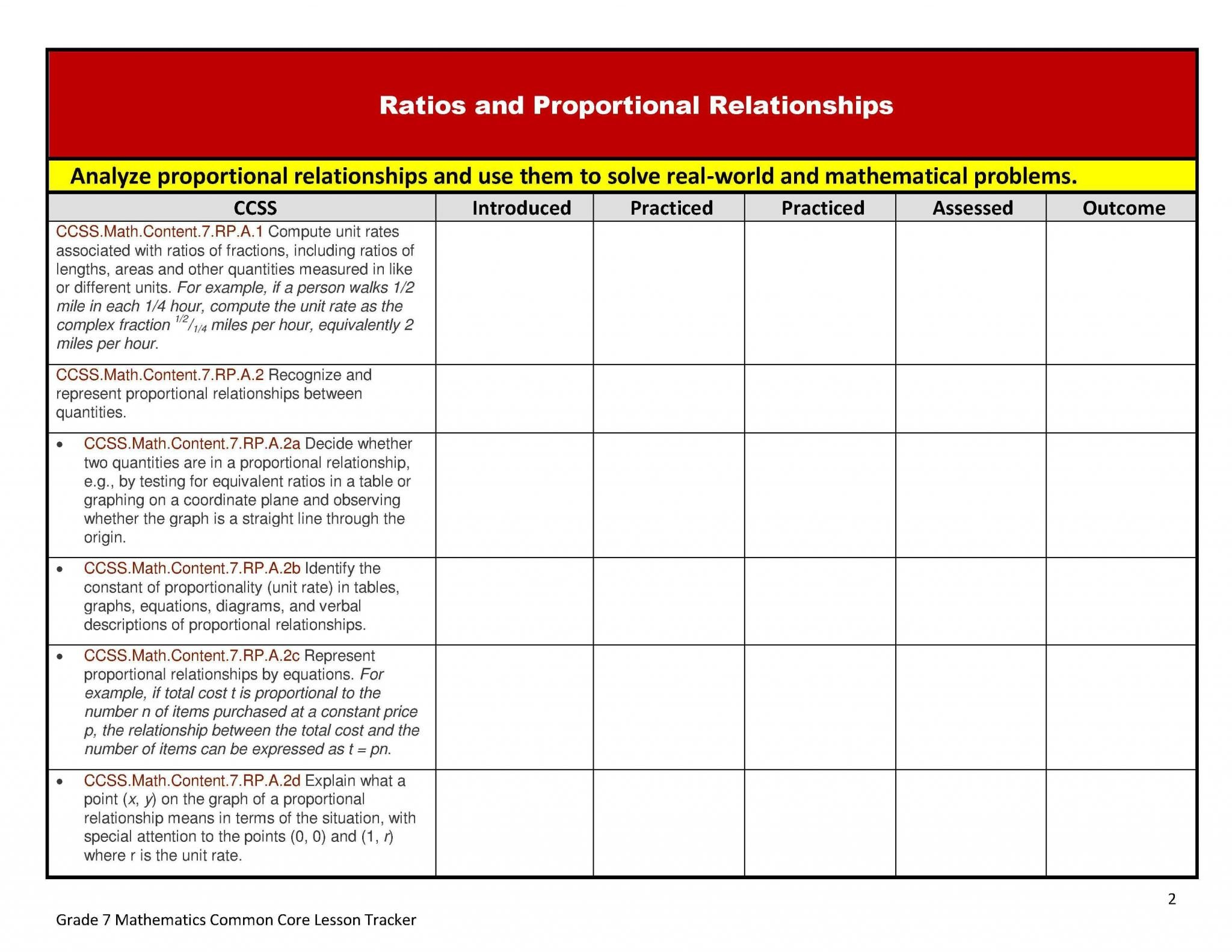 Unit Rate Worksheet 7th Grade