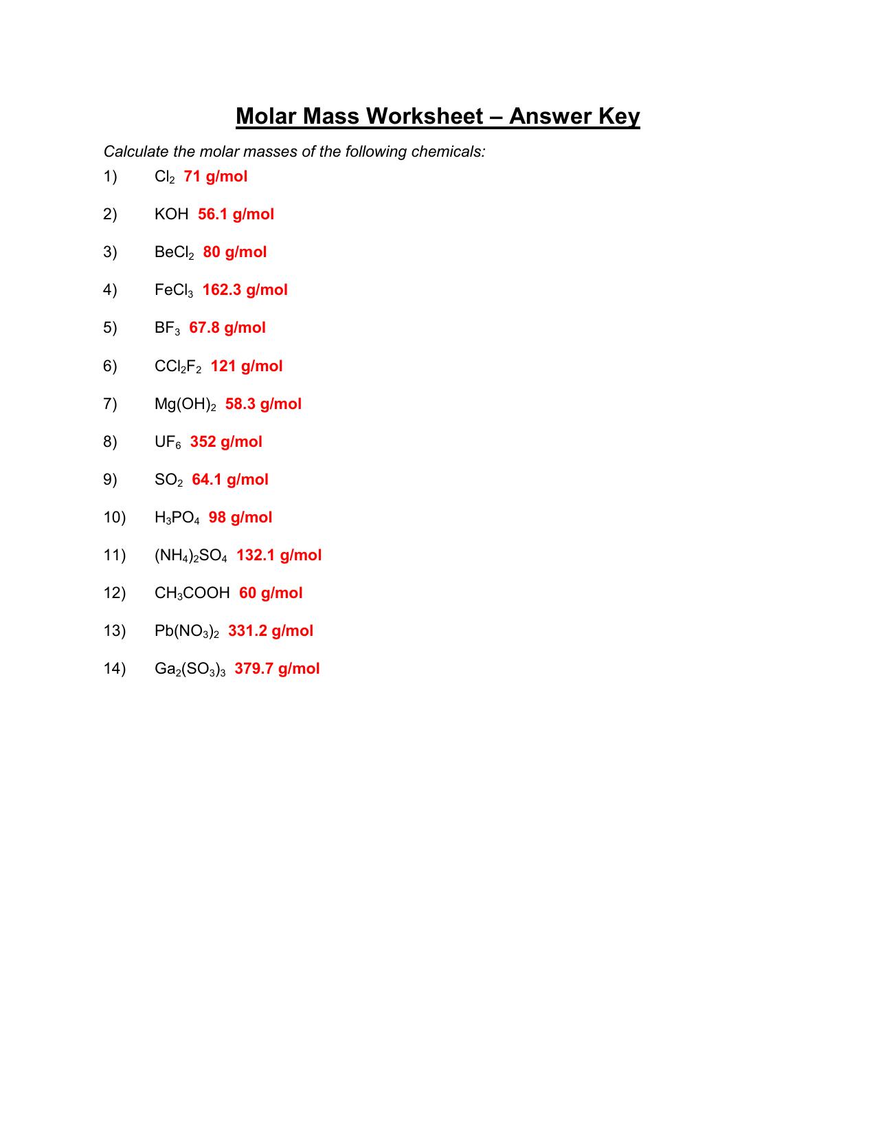 Molar Mass Chem Worksheet 11 2 Answer Key