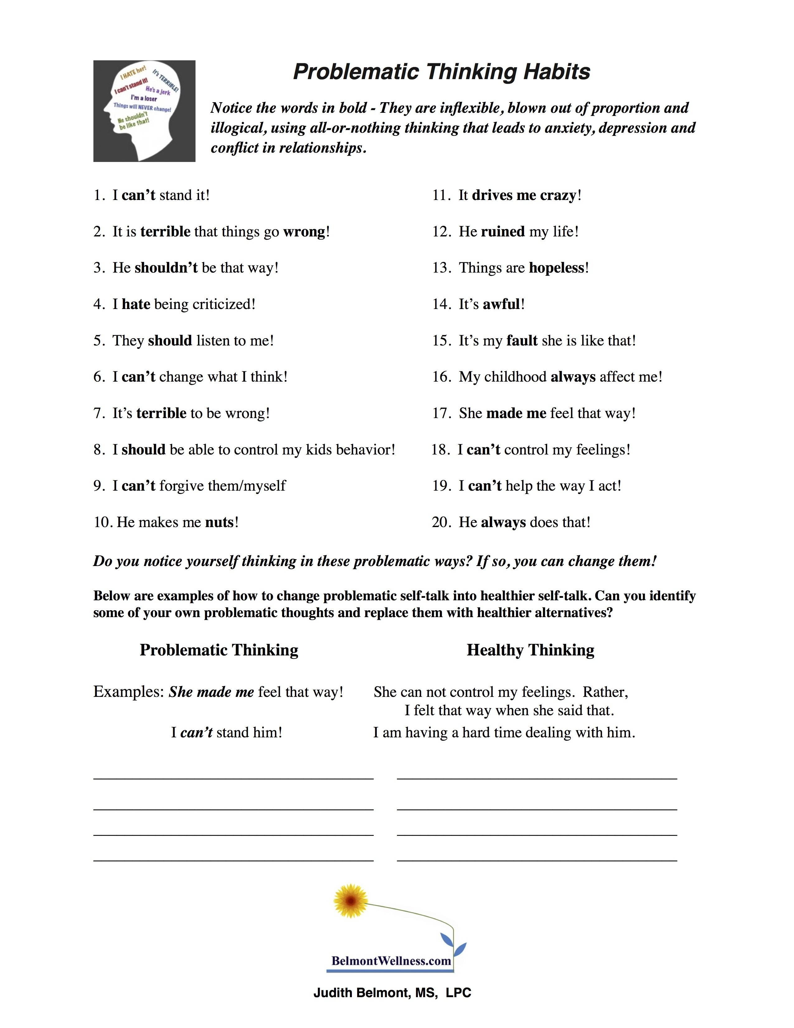 Therapy Worksheets For Teens