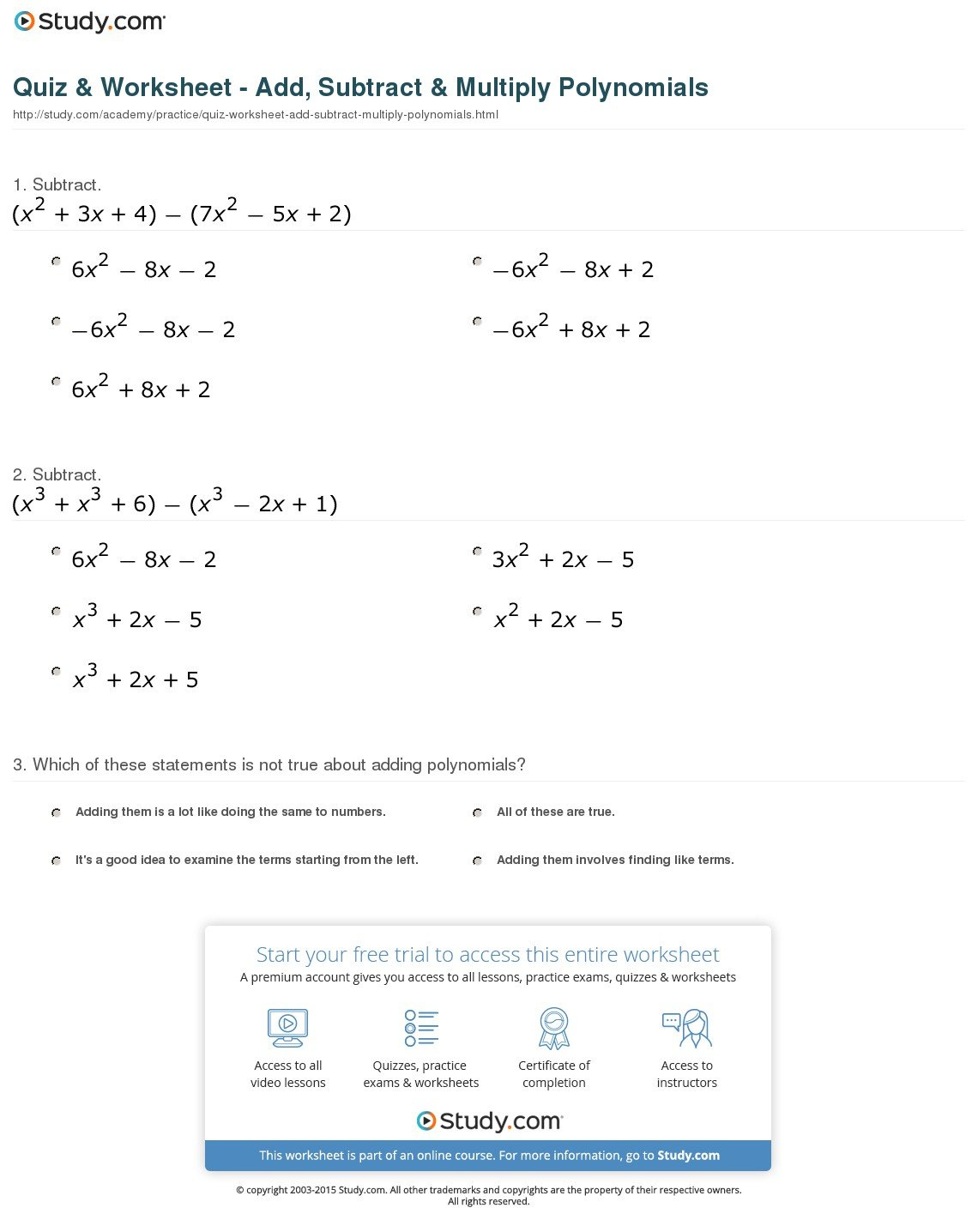 Multiplying Polynomials Worksheet Algebra 2