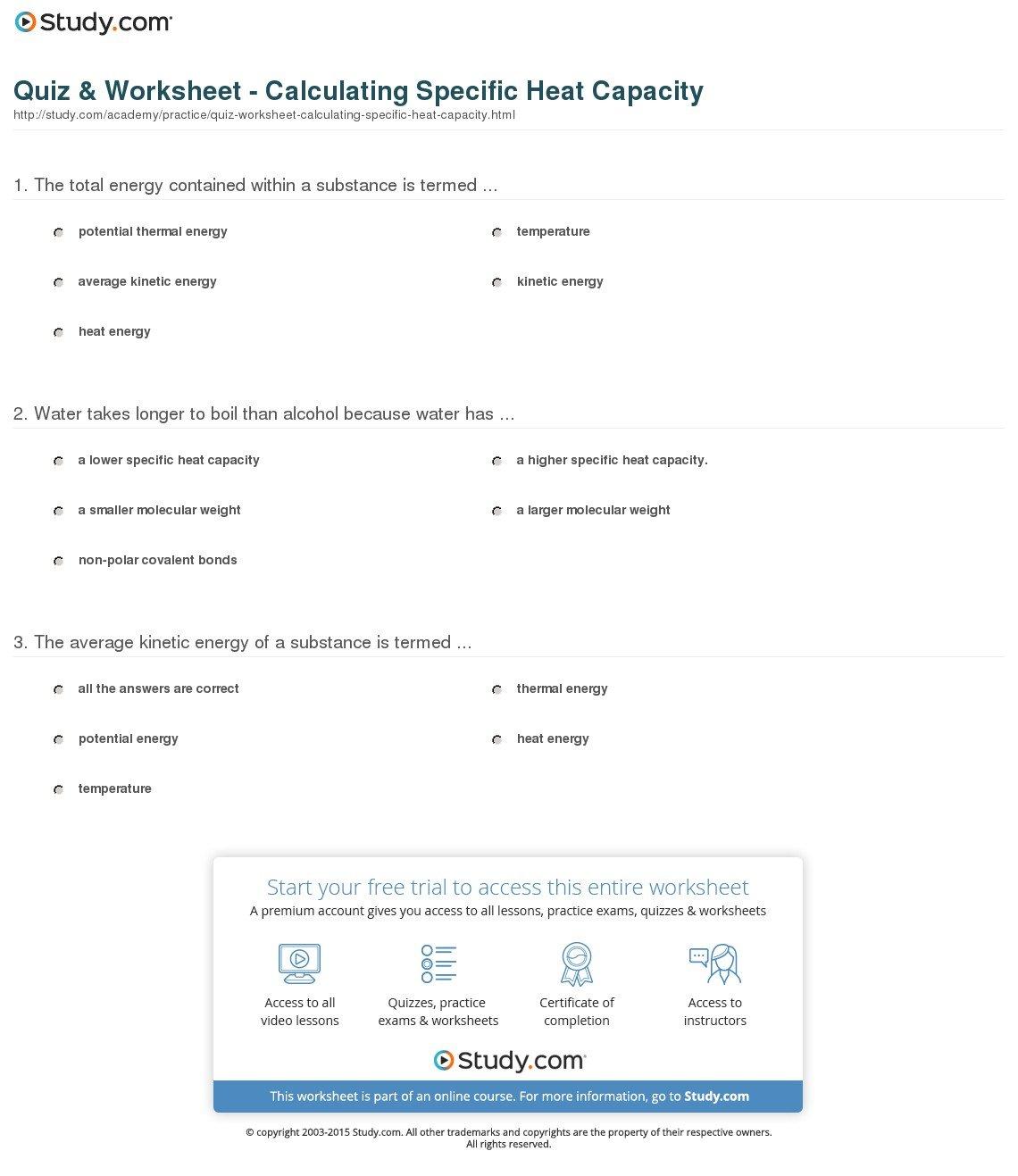 Specific Heat Practice Worksheet