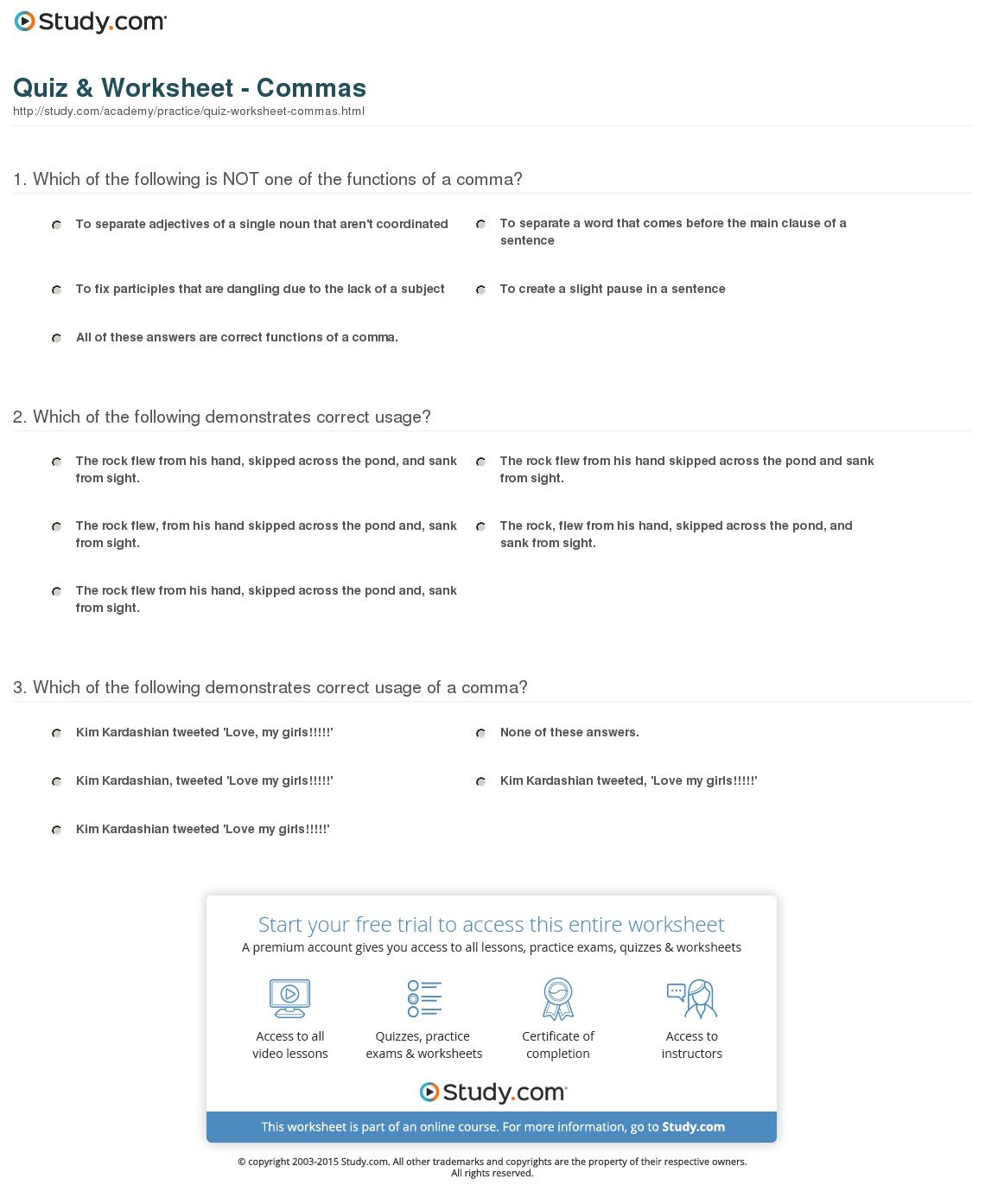 Quiz Worksheet Commas Study Within Comma Practice