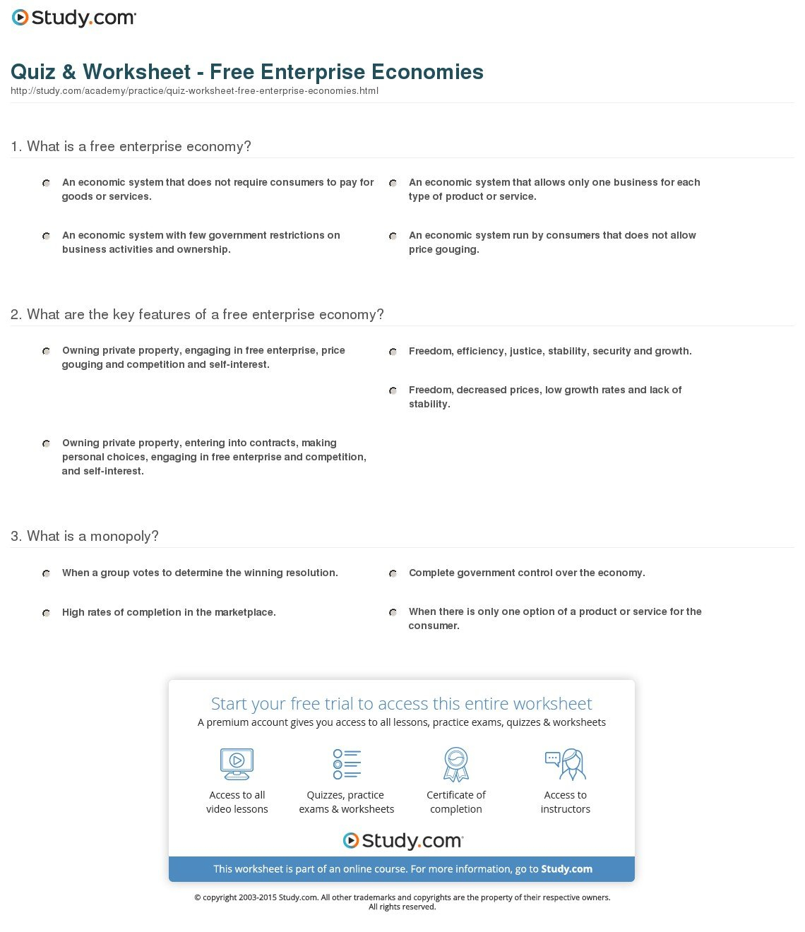 Economic Systems Worksheet Answer Key