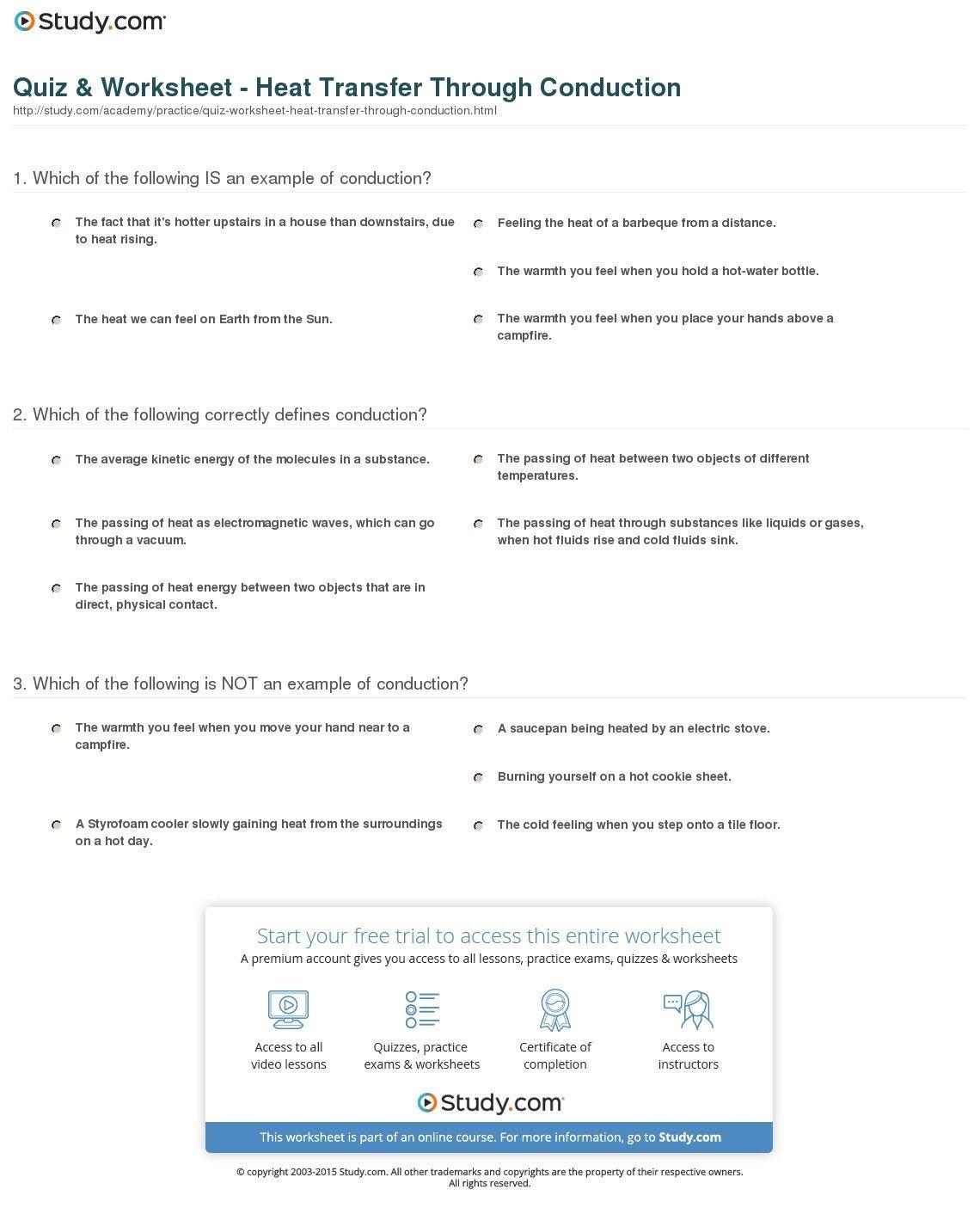 Heat Transfer Examples Worksheet
