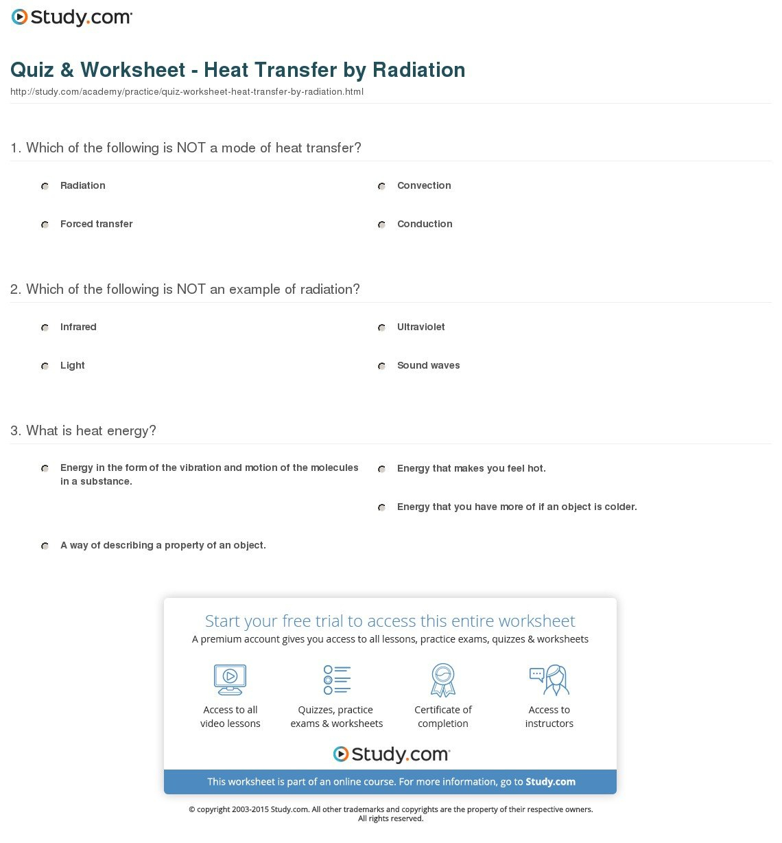 Heat Transfer Worksheet Answer Key