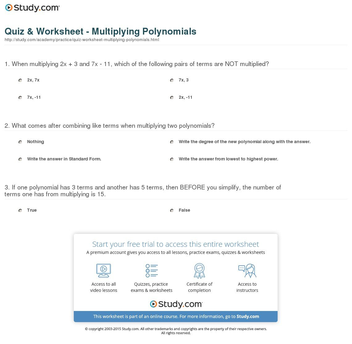 Multiplying Polynomials Worksheet