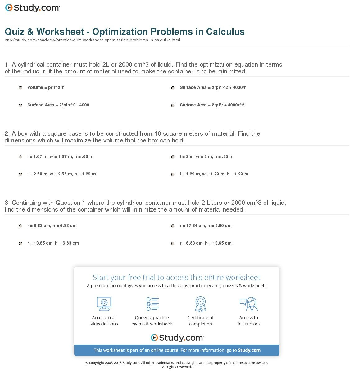 Optimization Problems Calculus Worksheets
