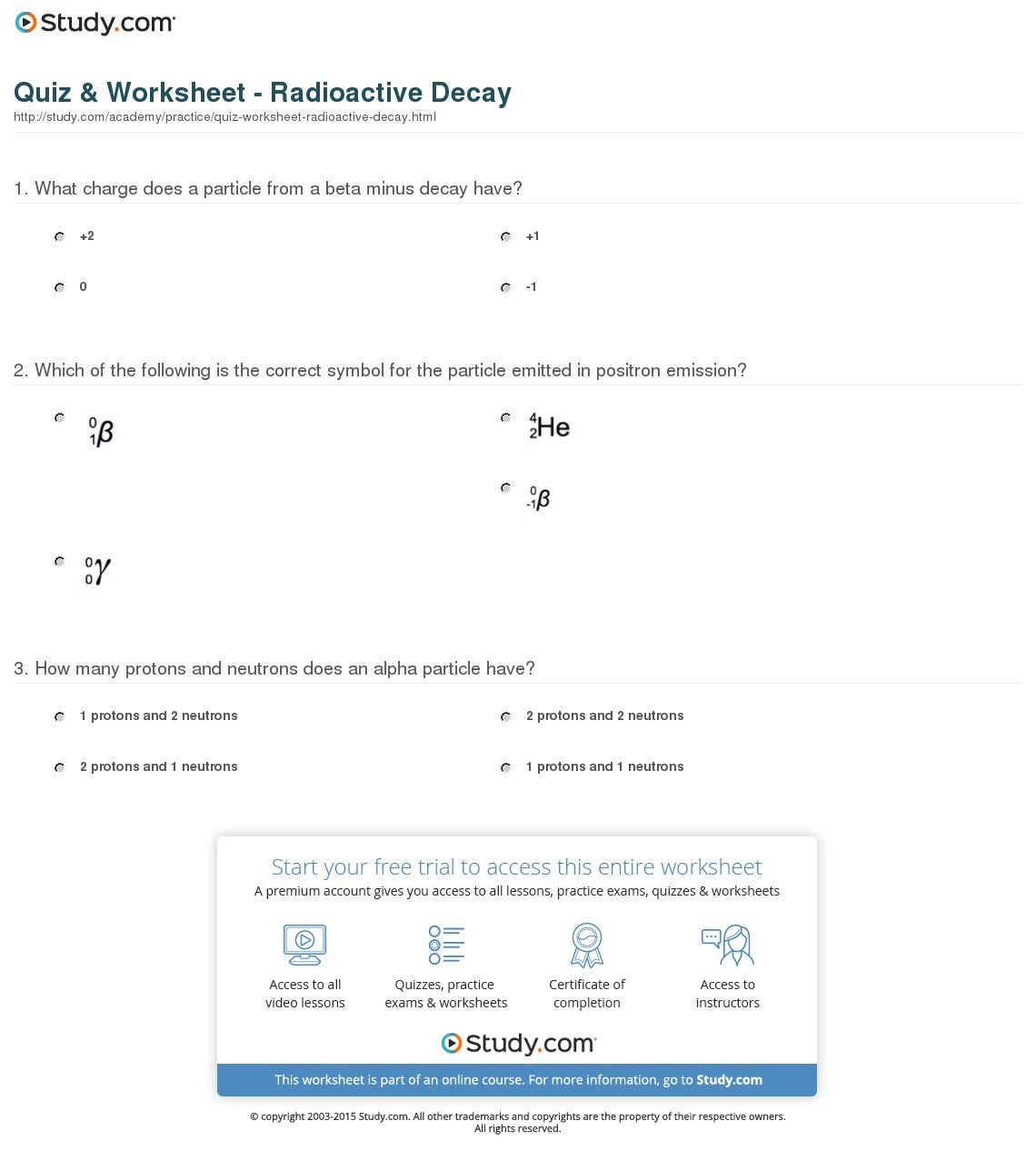 Radioactivity Worksheet Answers