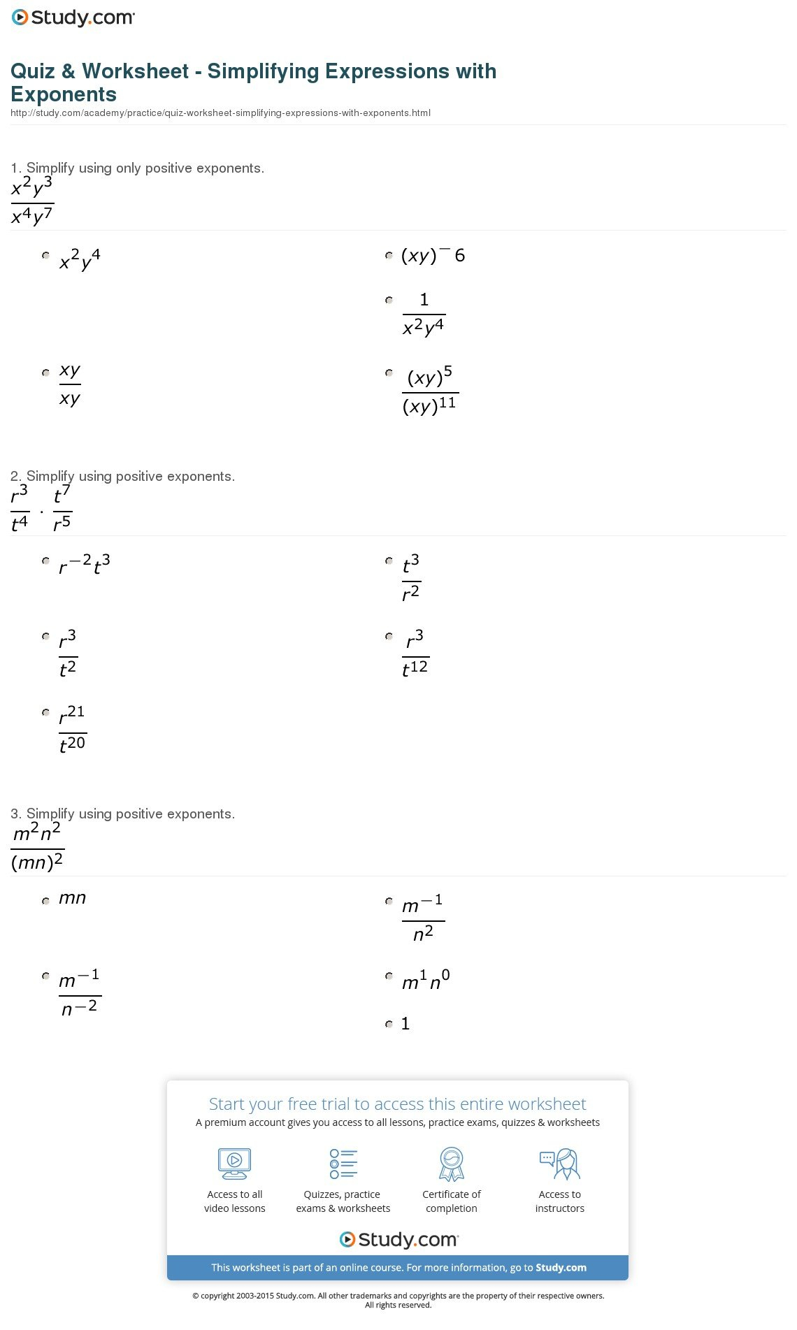 Exponent Worksheet Answers