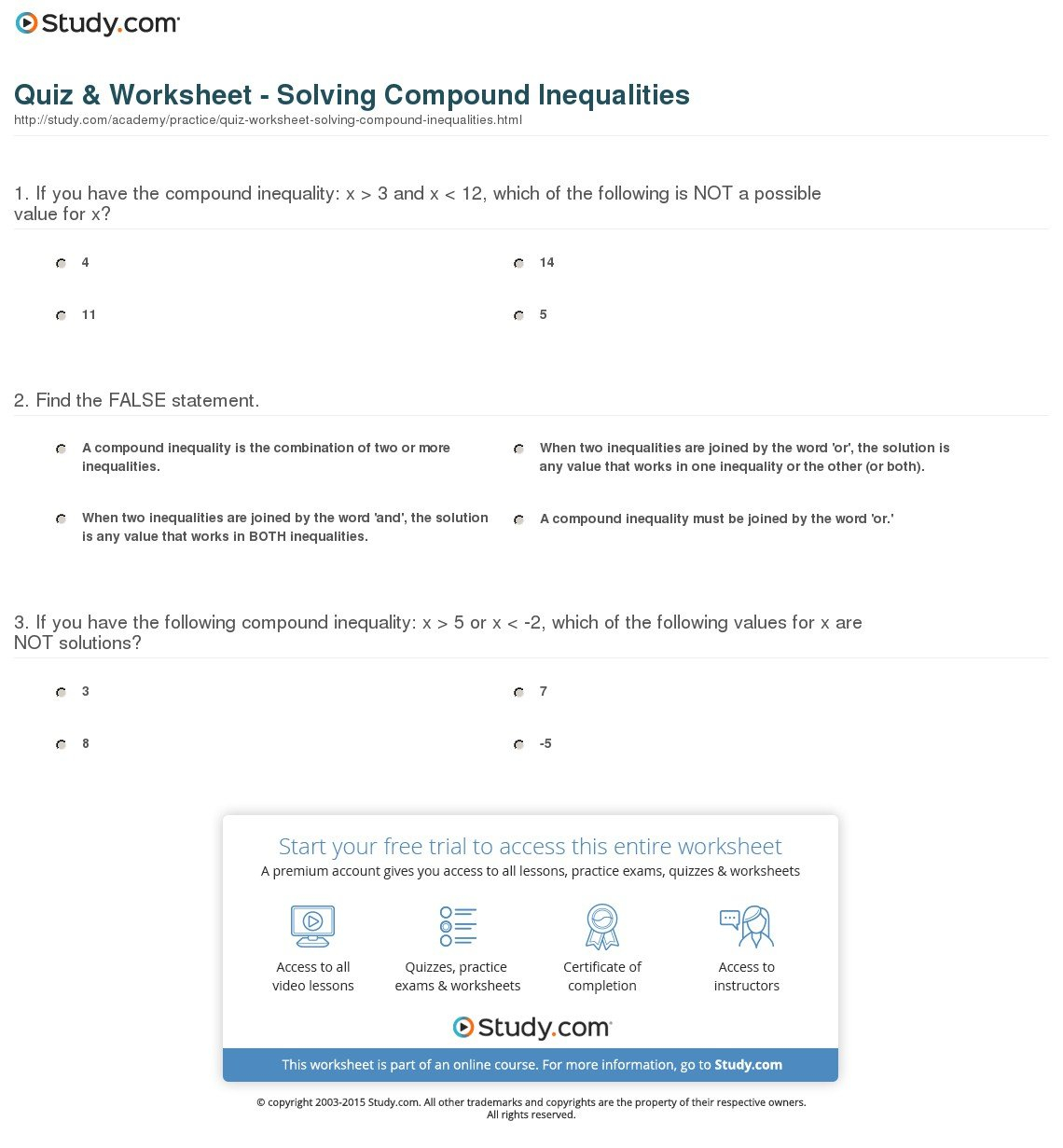 Compound Inequalities Worksheet Answers