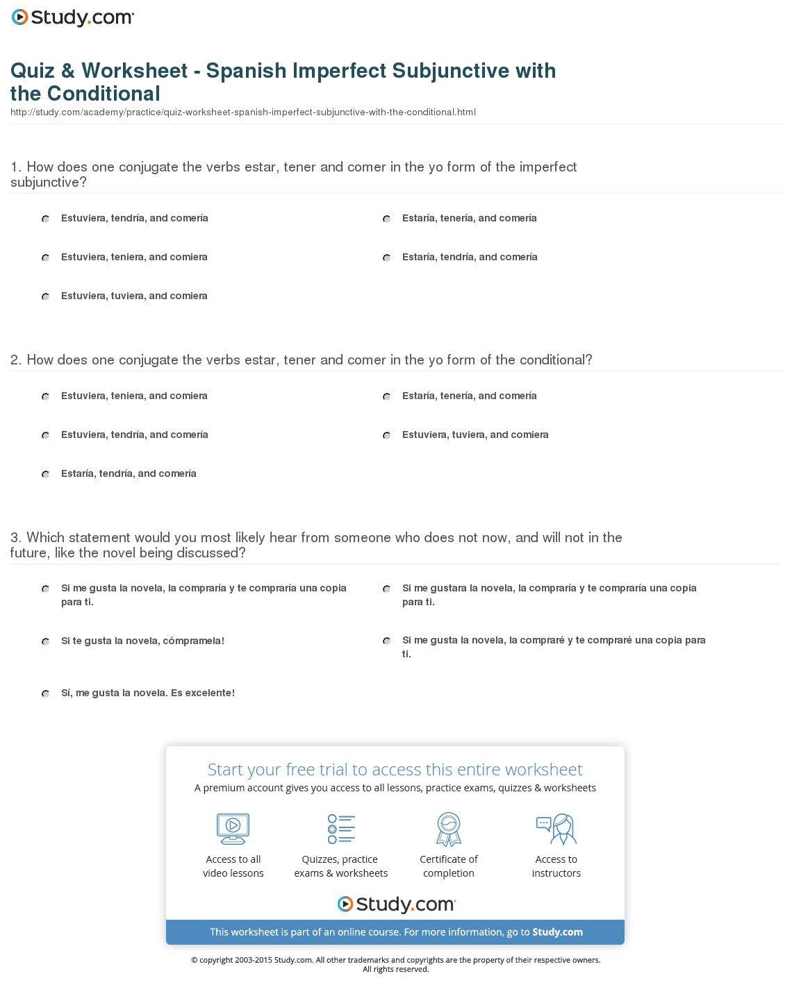 Spanish Present Subjunctive Worksheet