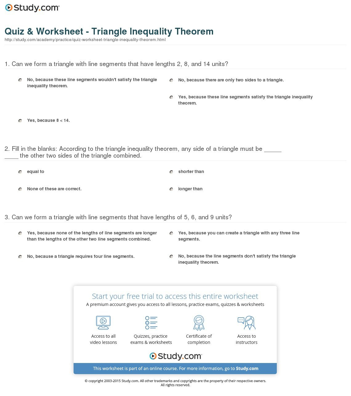 Triangle Inequality Worksheet With Answers