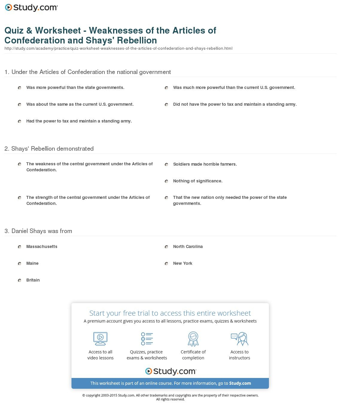 Weaknesses Of The Articles Of Confederation Worksheet