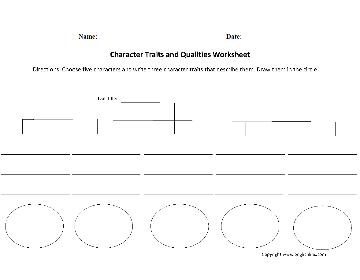 Identifying Character Traits Worksheet