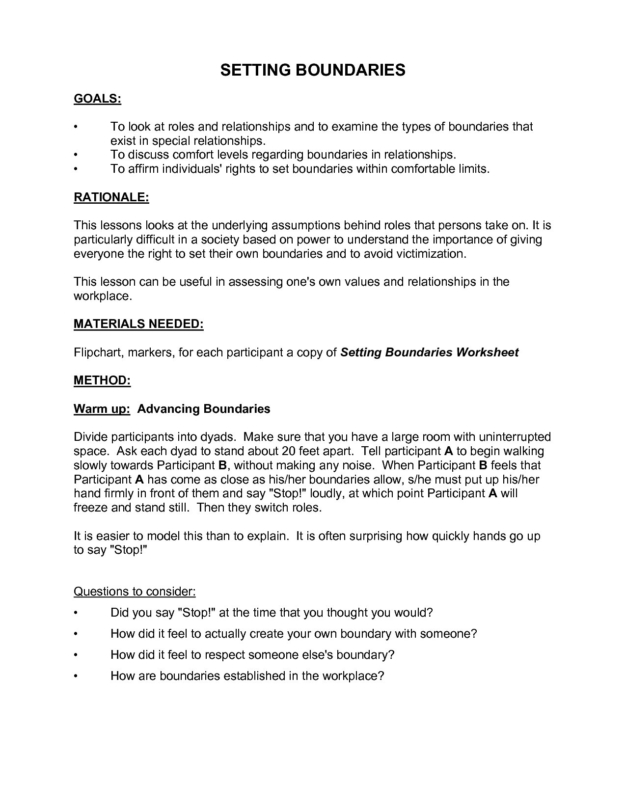 Setting Boundaries In Recovery Worksheets