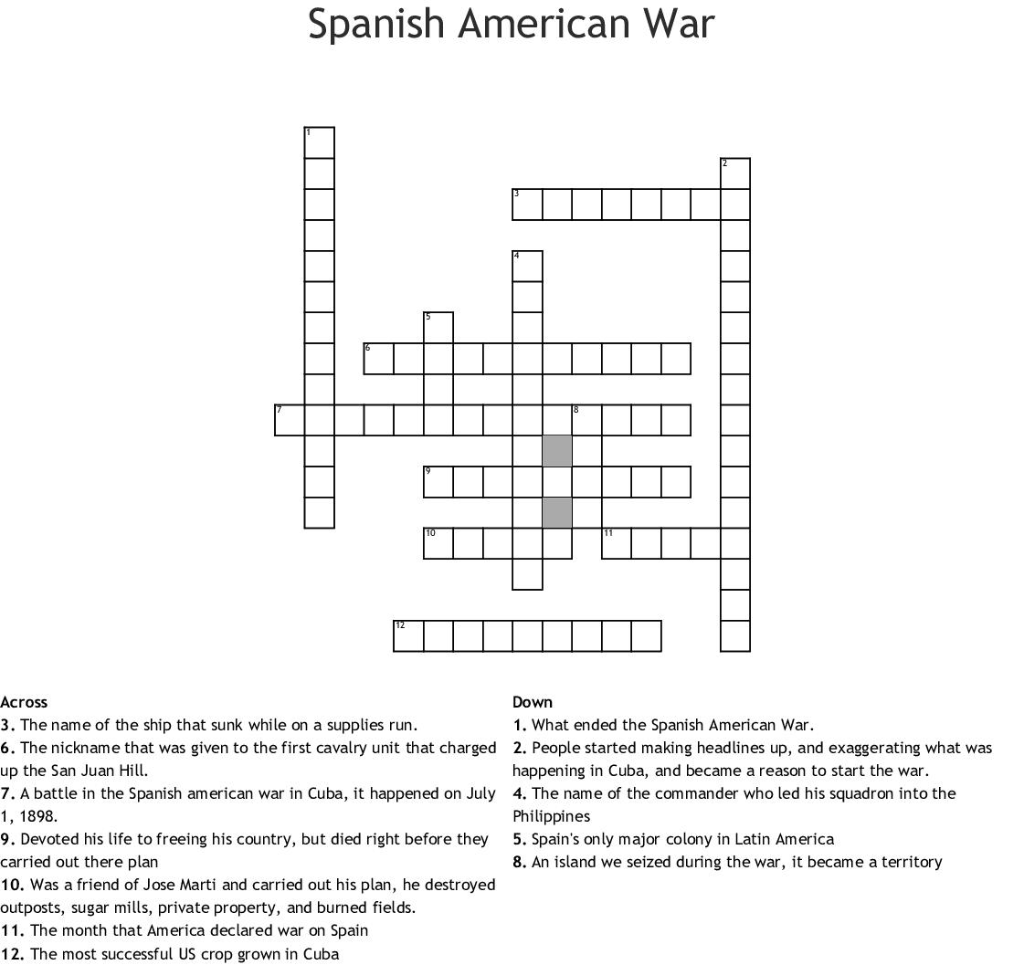 Spanish American War Worksheet Answers