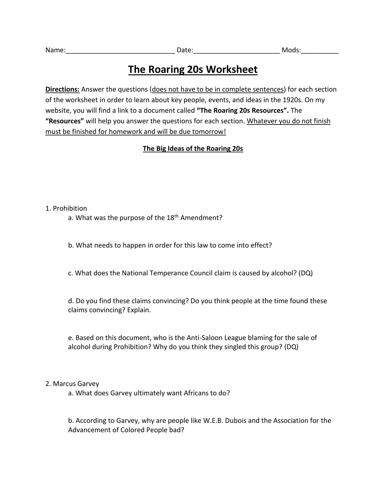 The Roaring Twenties Worksheet Answers