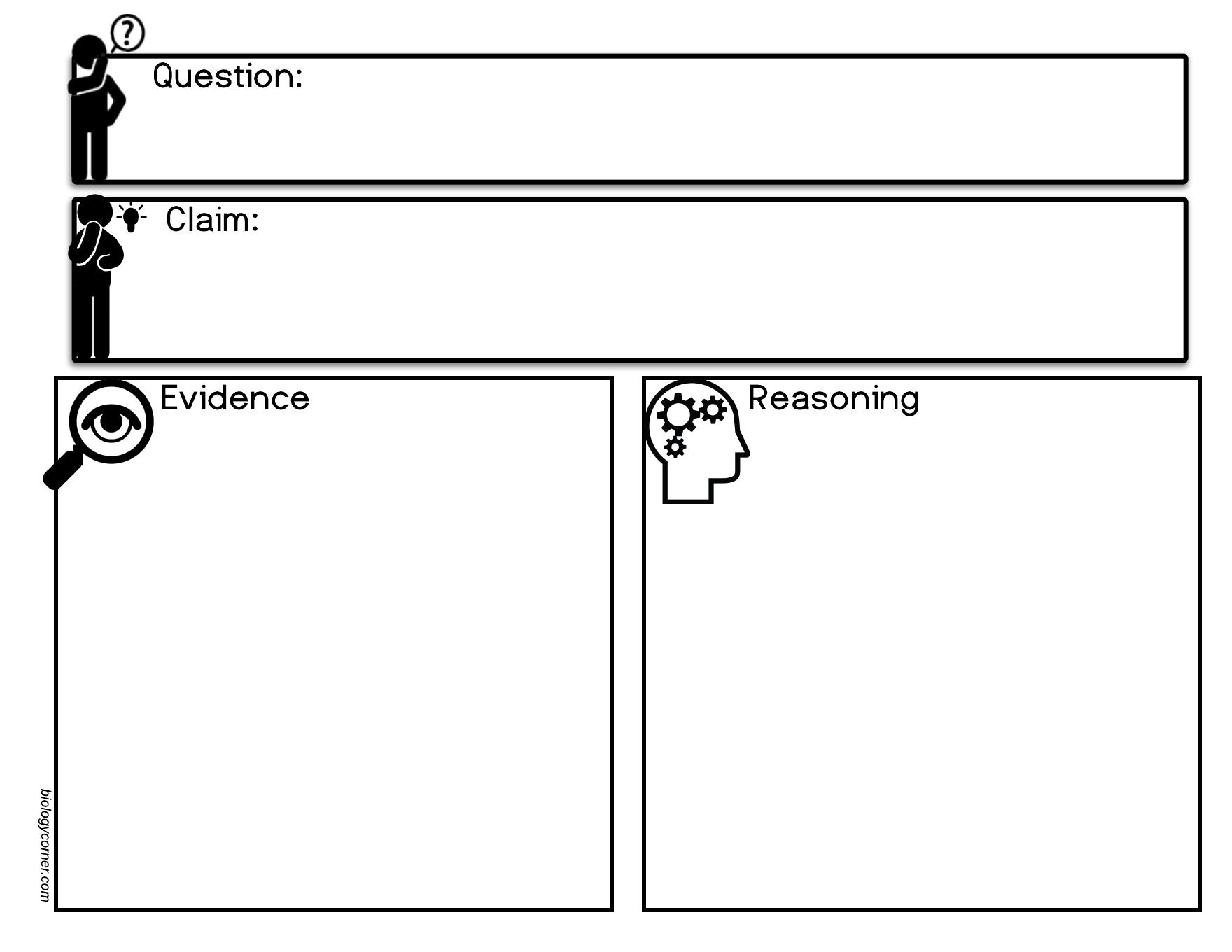 Claim Evidence Reasoning Worksheets