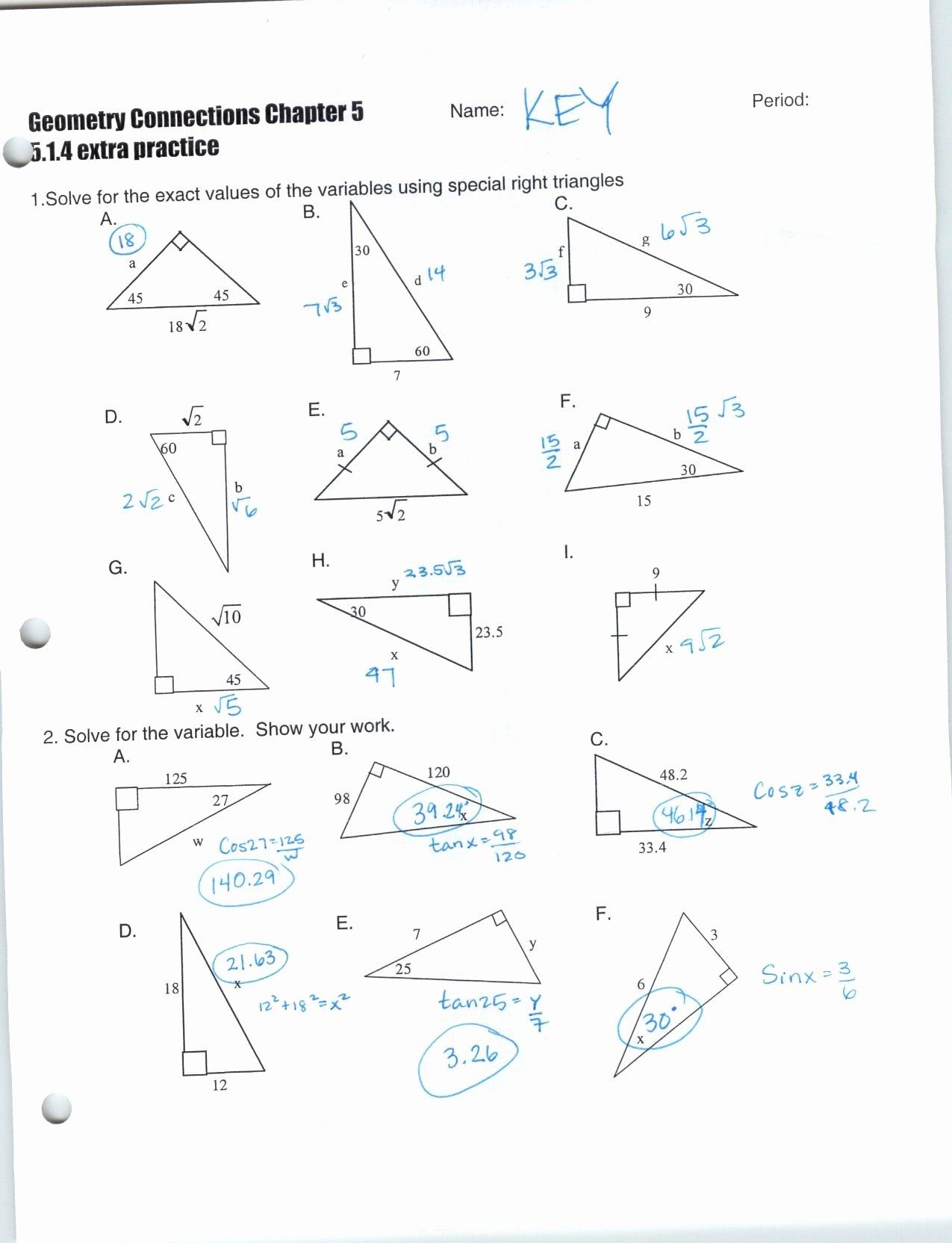 Worksheet Trigonometric Ratios Sohcahtoa Answer Key