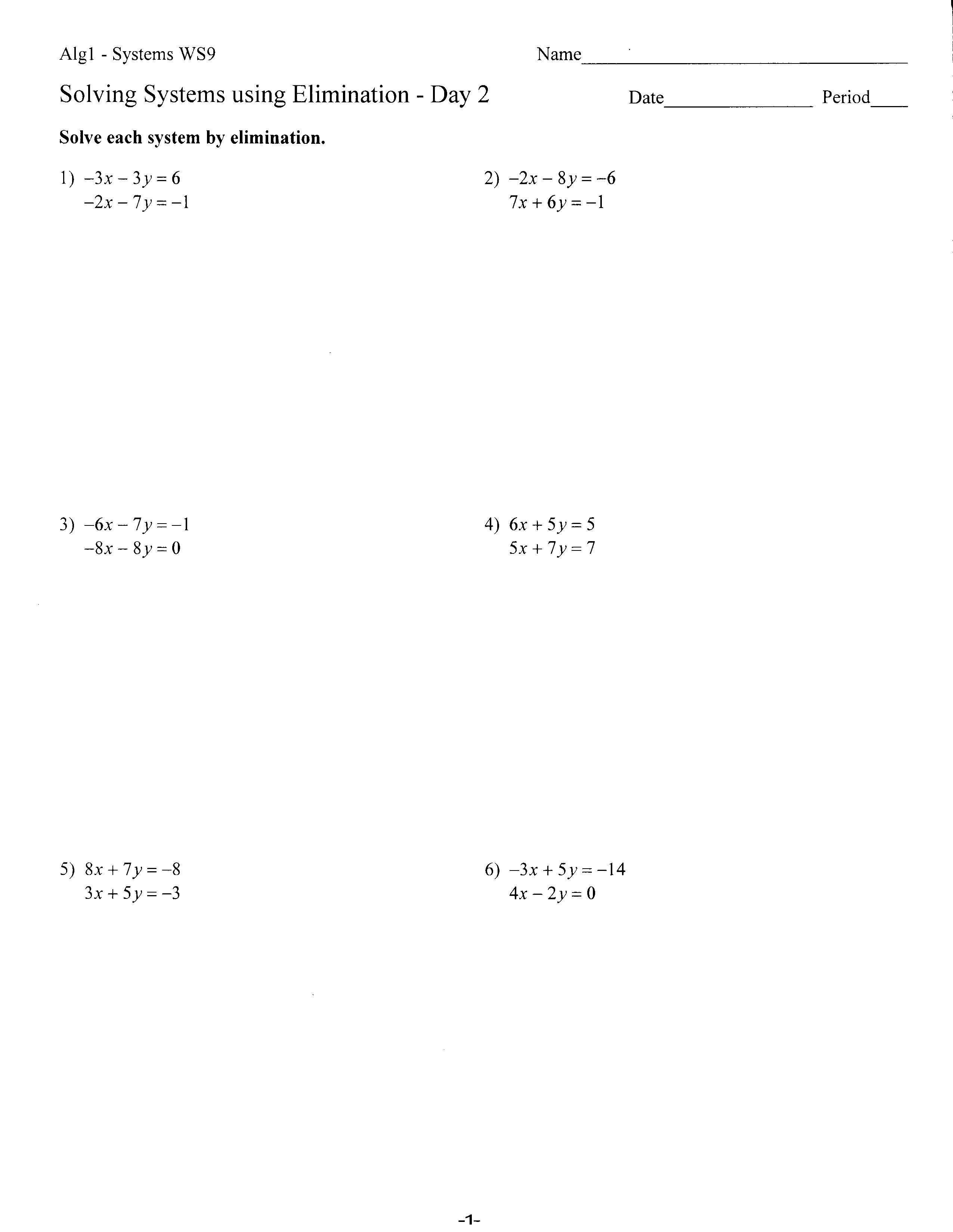 Solving Systems By Elimination Worksheet