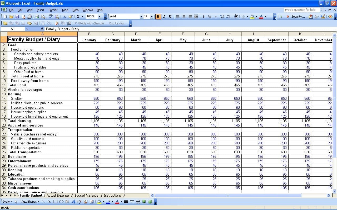 Financial Expenses Worksheet Excelguider