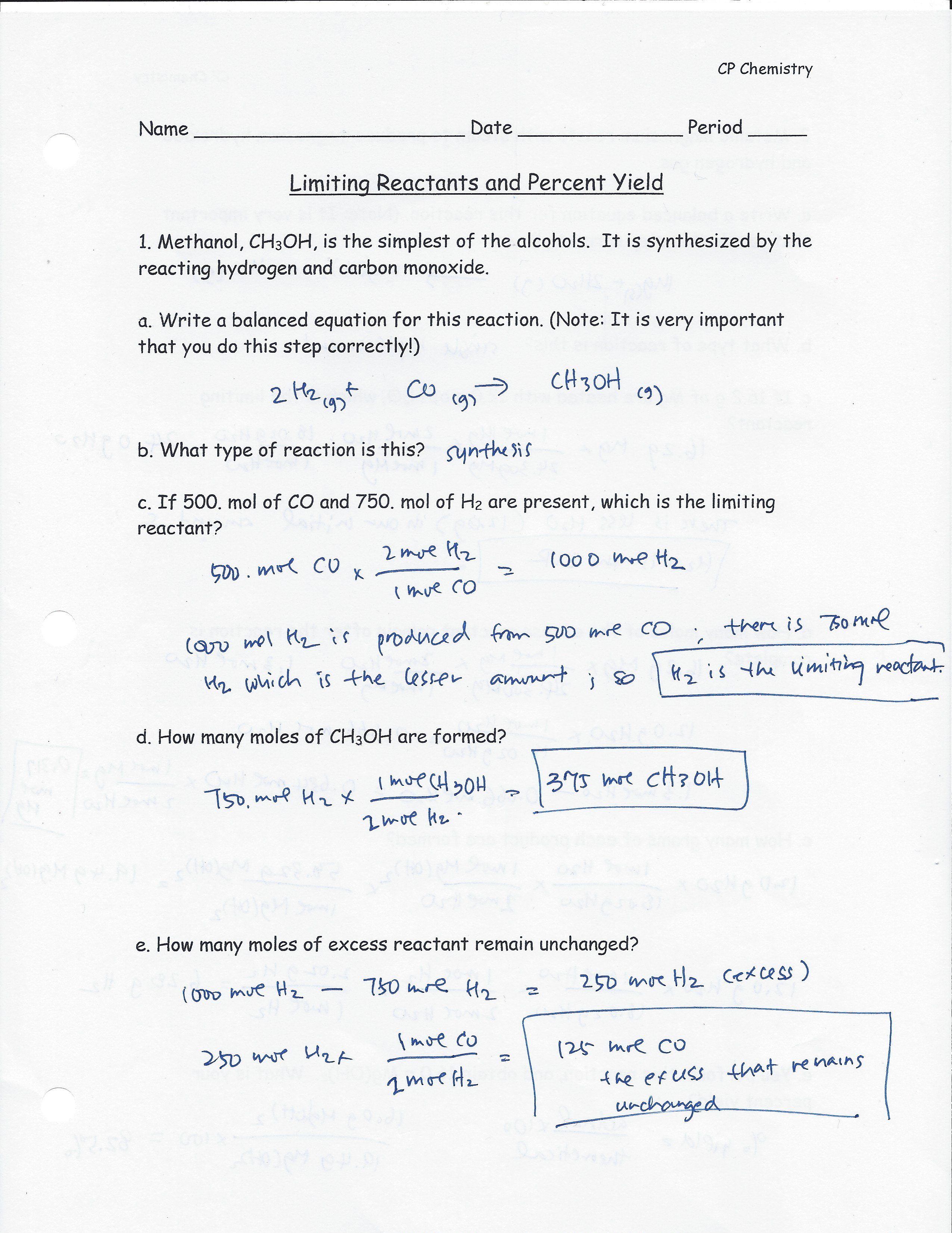 Limiting Reactant And Percent Yield Worksheet Answer Key