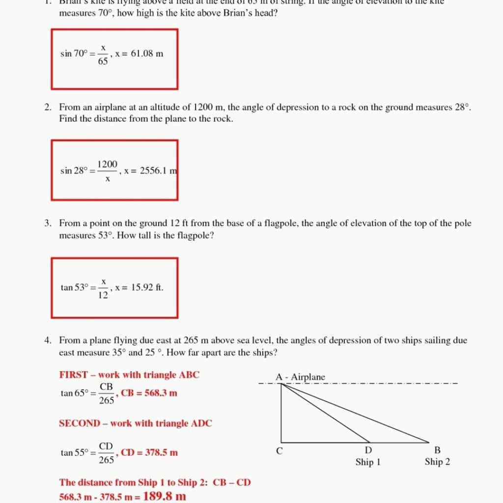 Angle Of Elevation And Depression Trig Worksheet Answers